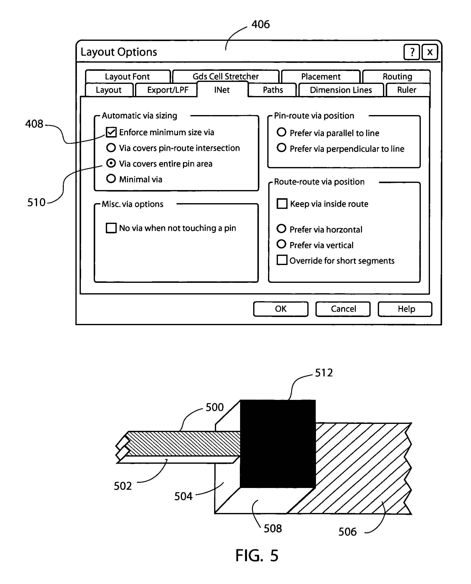 Patent US8086991 - Automatic creation of vias in electrical