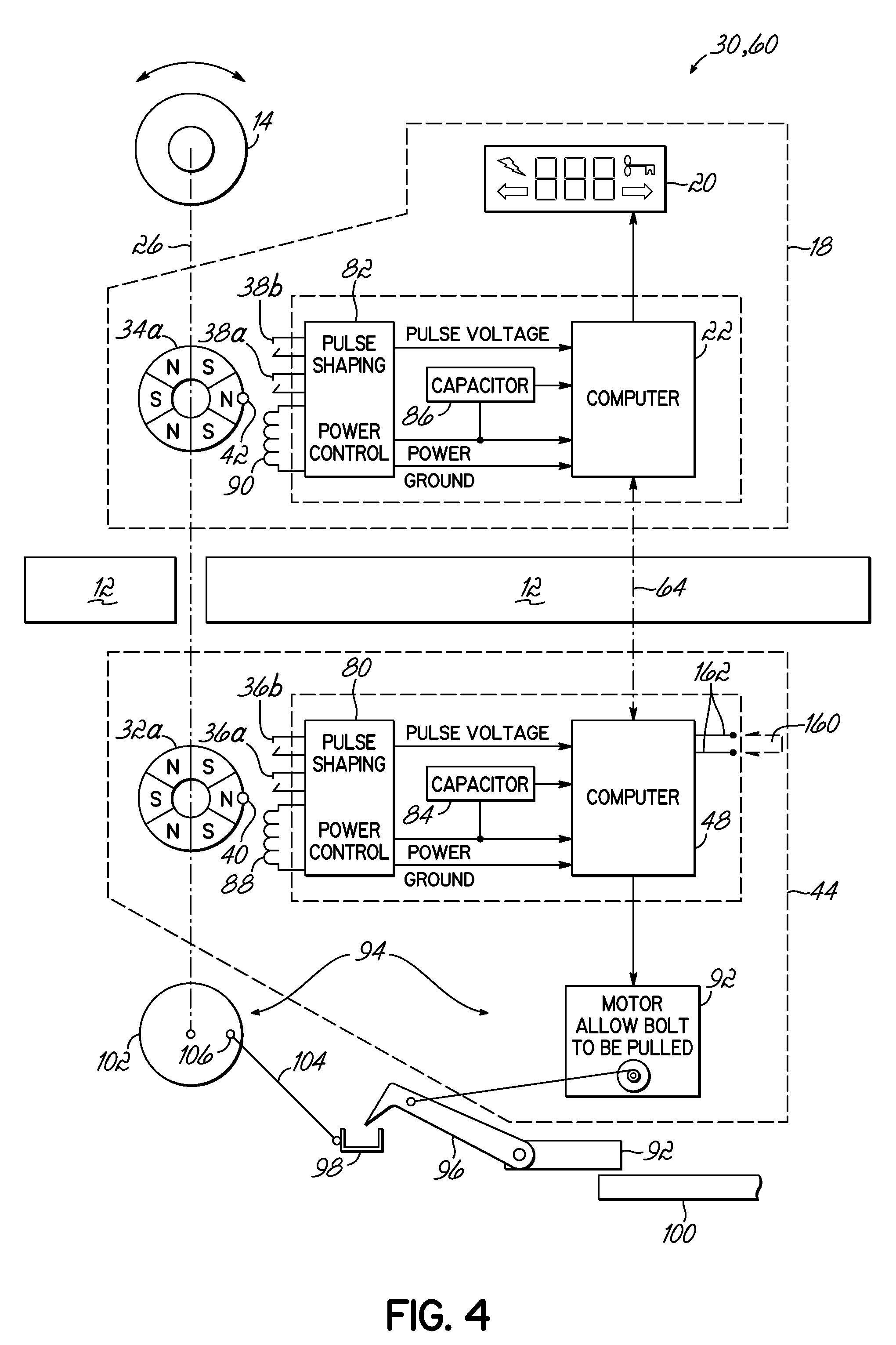 Patent Us8093986 Self Powered Electronic Lock Google Patents 120 Volt Capacitor Wiring Diagram Drawing