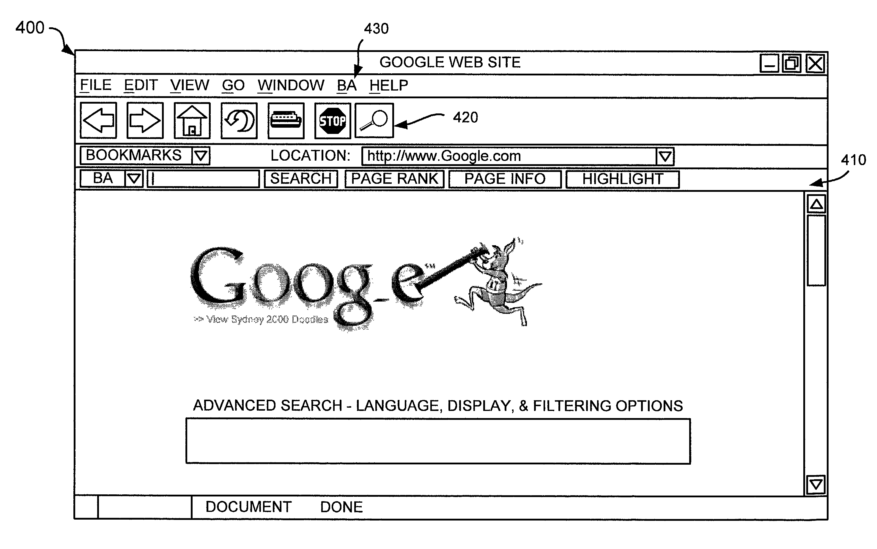Google  patent by Mark Zuckerberg from 2012 for scoring links in a document - US8127220