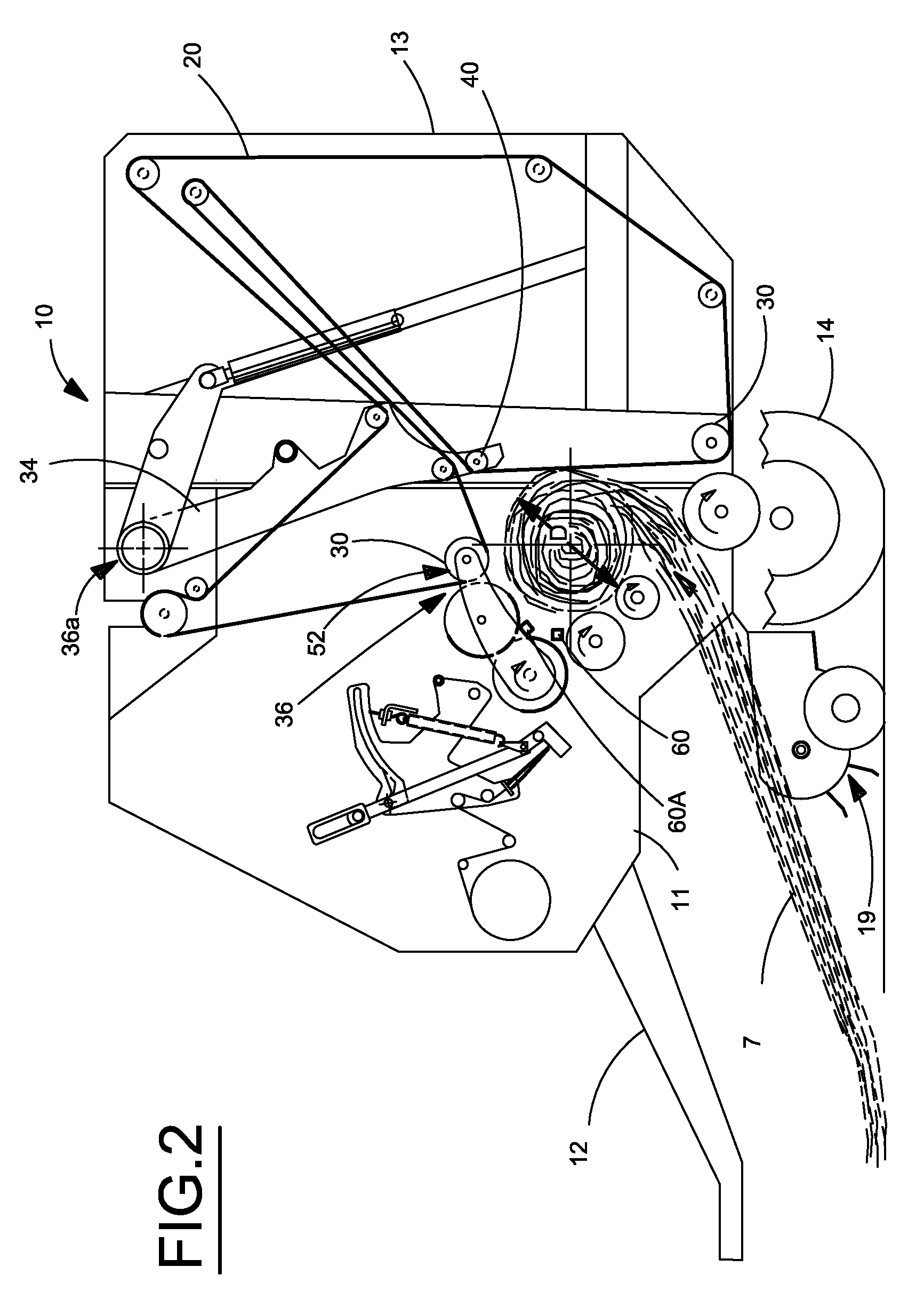 patent us8141480 automatic bale size calibration on round balers Hydraulic Hay Unroller patent drawing