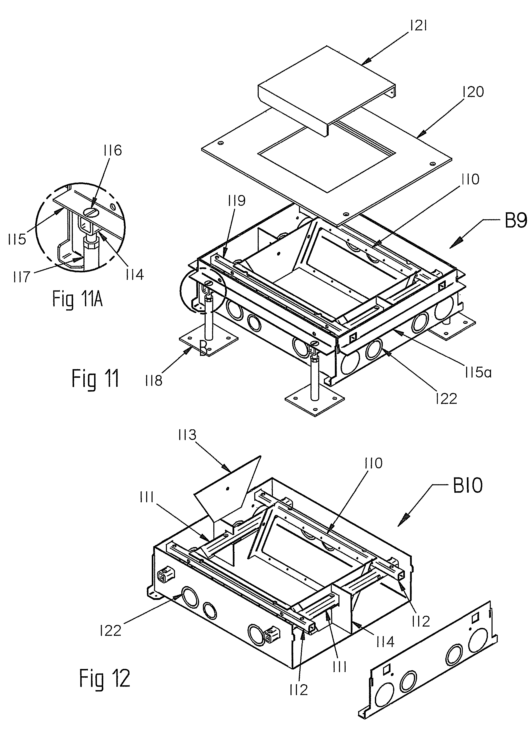 patent us8153910 - junction and outlet boxes for in floor wiring systems