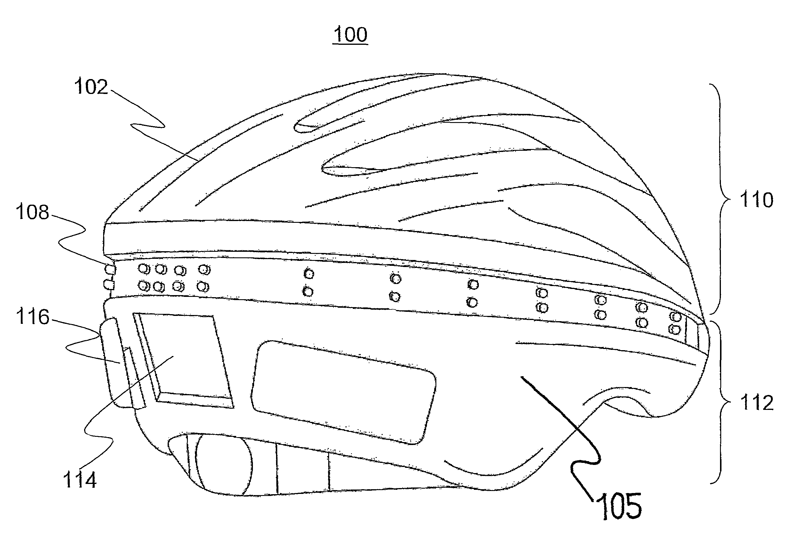 Us8157402 Illuminated Helmet With Programmable Wiring A Light Motion Sensor Free Download Diagrams Pictures Patent Drawing