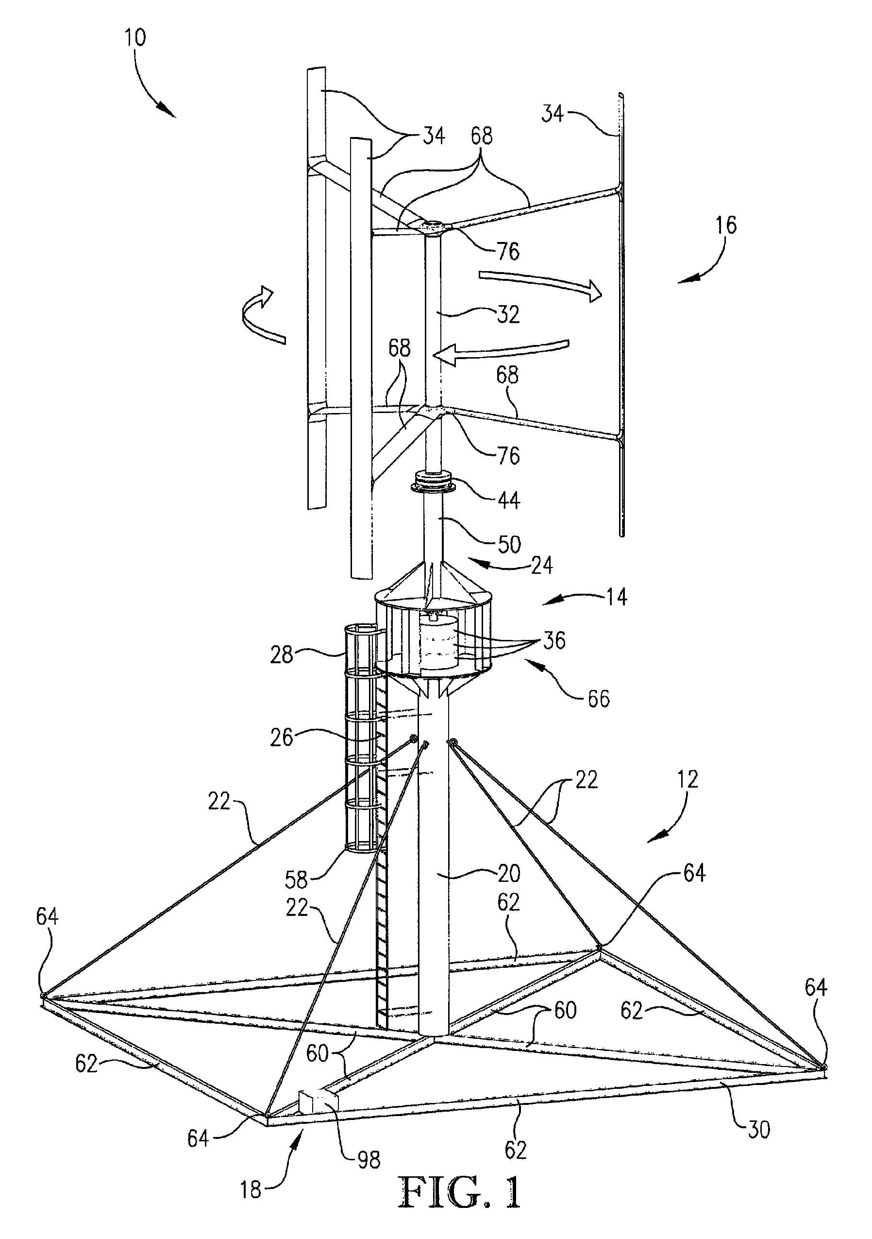 patente us8258647 - vertical axis wind turbine