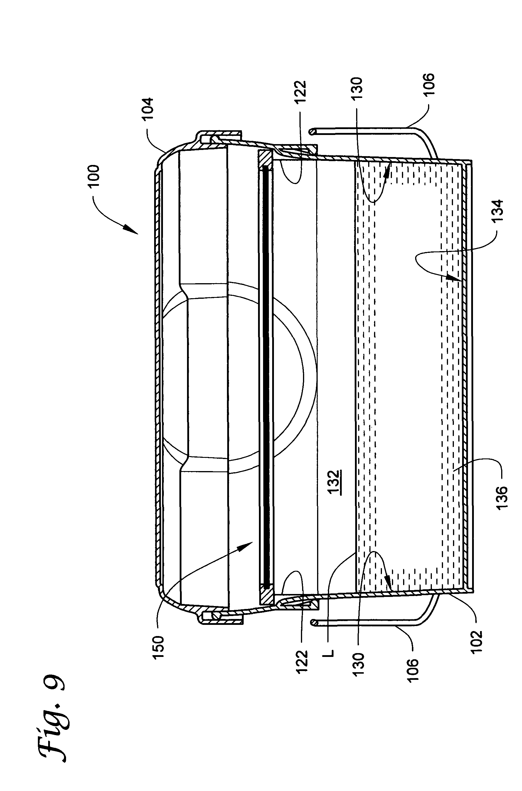Patent us8281952 resealable containers having internal for Surface container