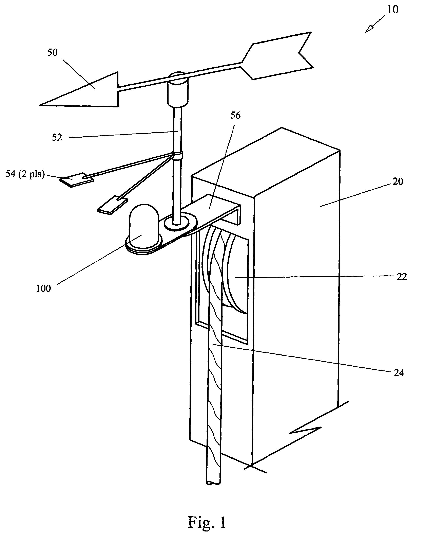 patent us8291758 - masthead wind direction indicator illuminator
