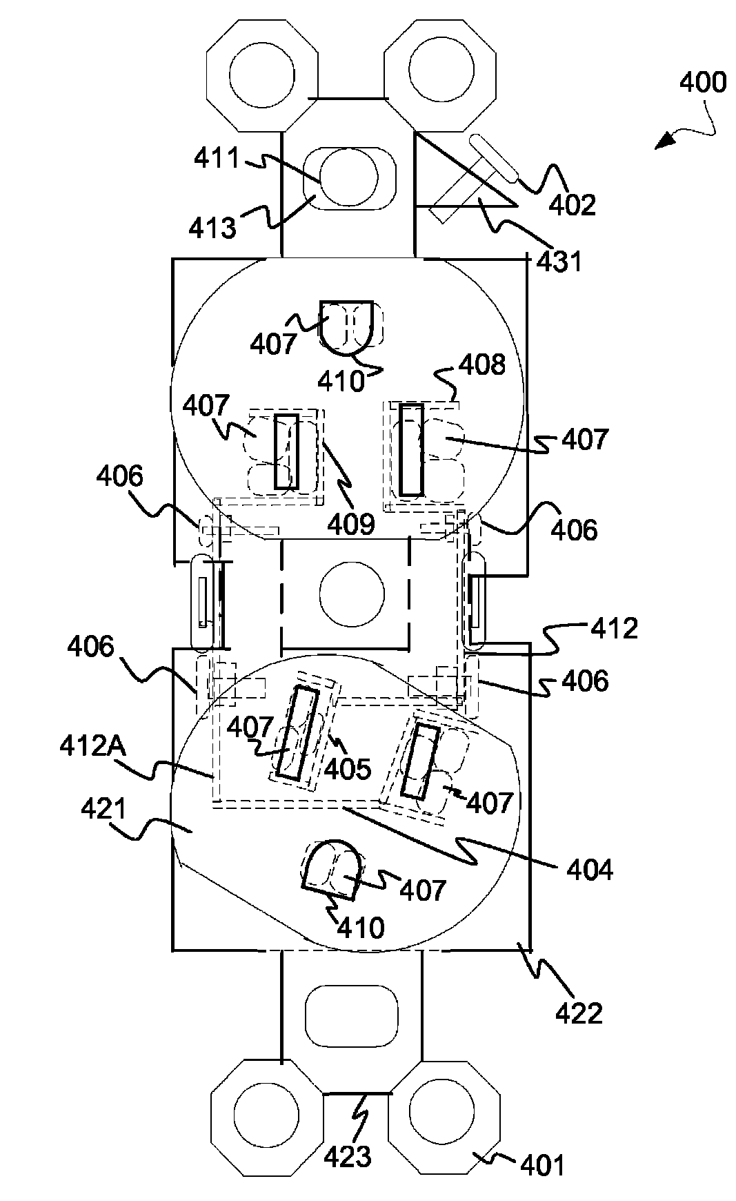 Patent Us8348682 Method For Electrical Outlet Having Grounds Out Nema 6 20r Receptacle Diagram Free Download Wiring Schematic Drawing