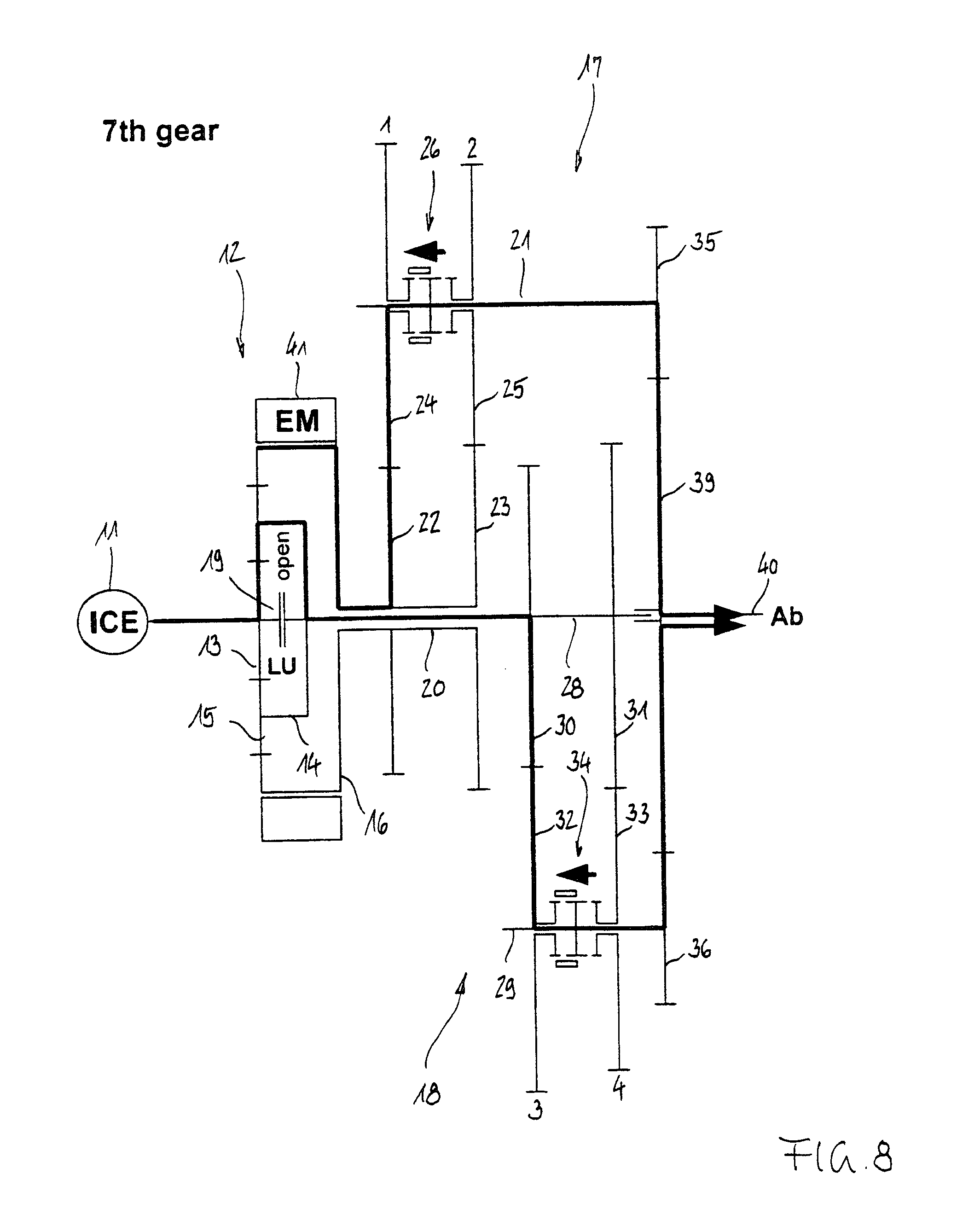 Patent Us8360913 Drive System With An 8 Gear Gearbox Google Patents L24 Engine Diagram Drawing
