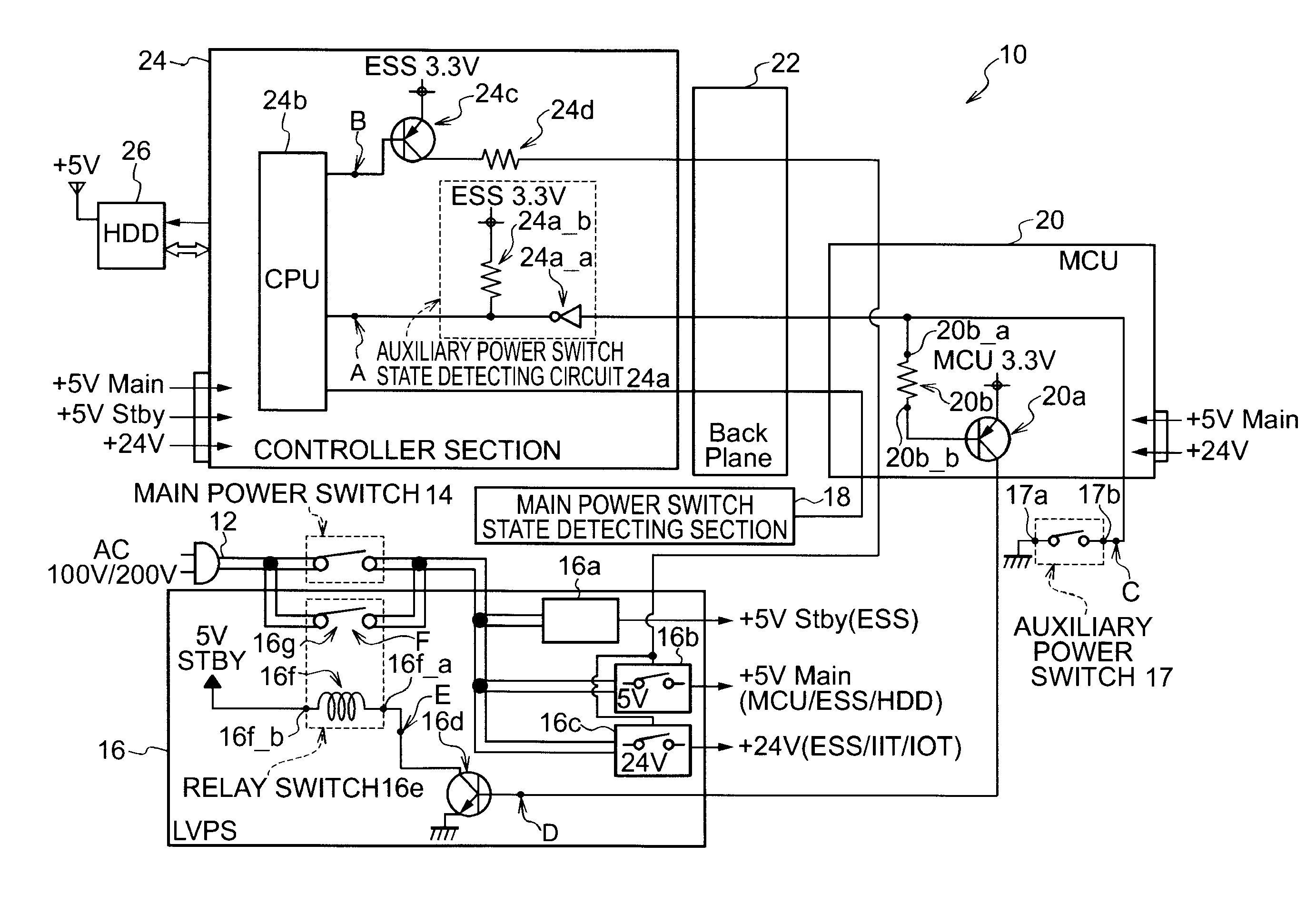 Patent Us8407490 Power Supply Having An Auxiliary Switch To Ac Relay Drawing