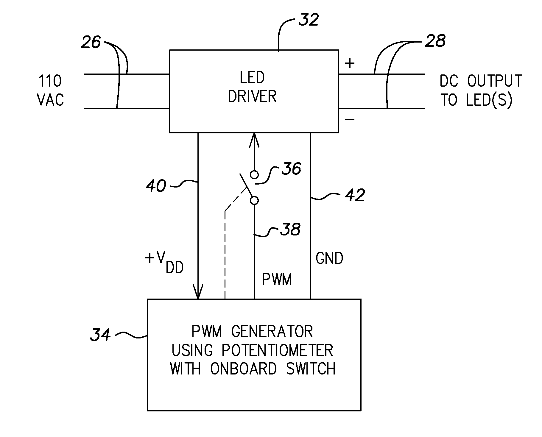 Patent Us8754585 Led Driver And Integrated Dimmer Switch Pwm Using Ne555 Drawing