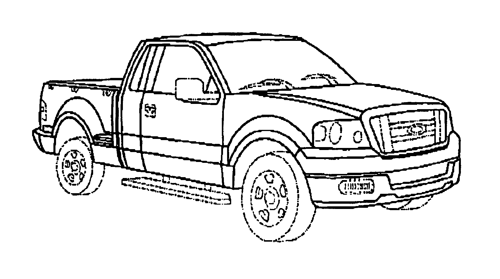 It is a graphic of Effortless Drawing Front Of Pick Up Truck