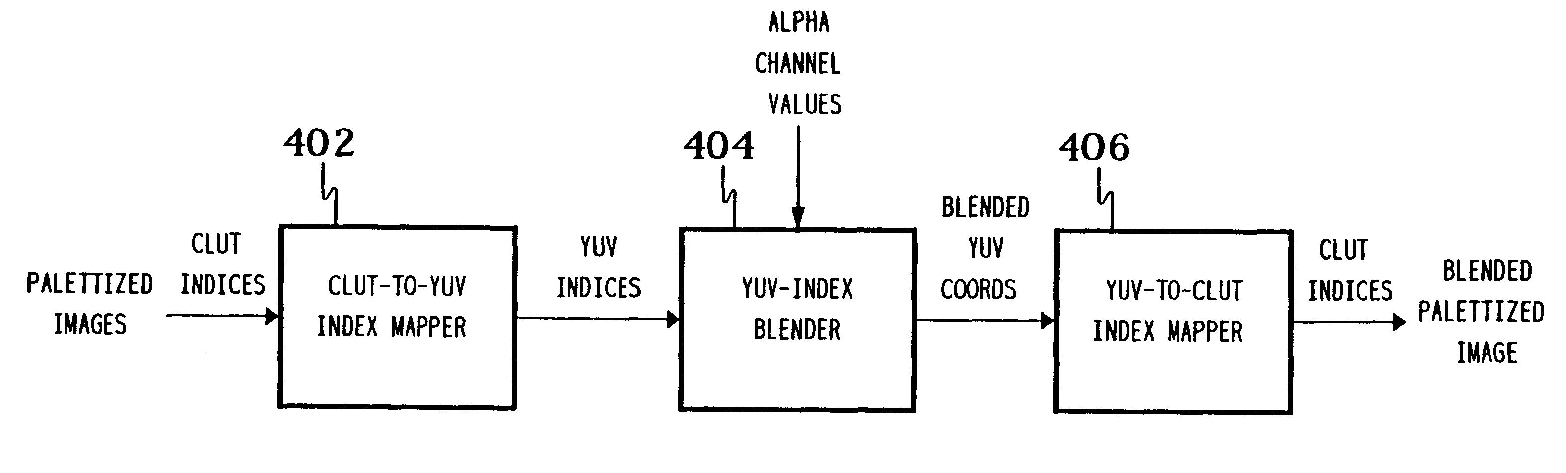 Patent USRE37476 - Alpha blending palettized image data