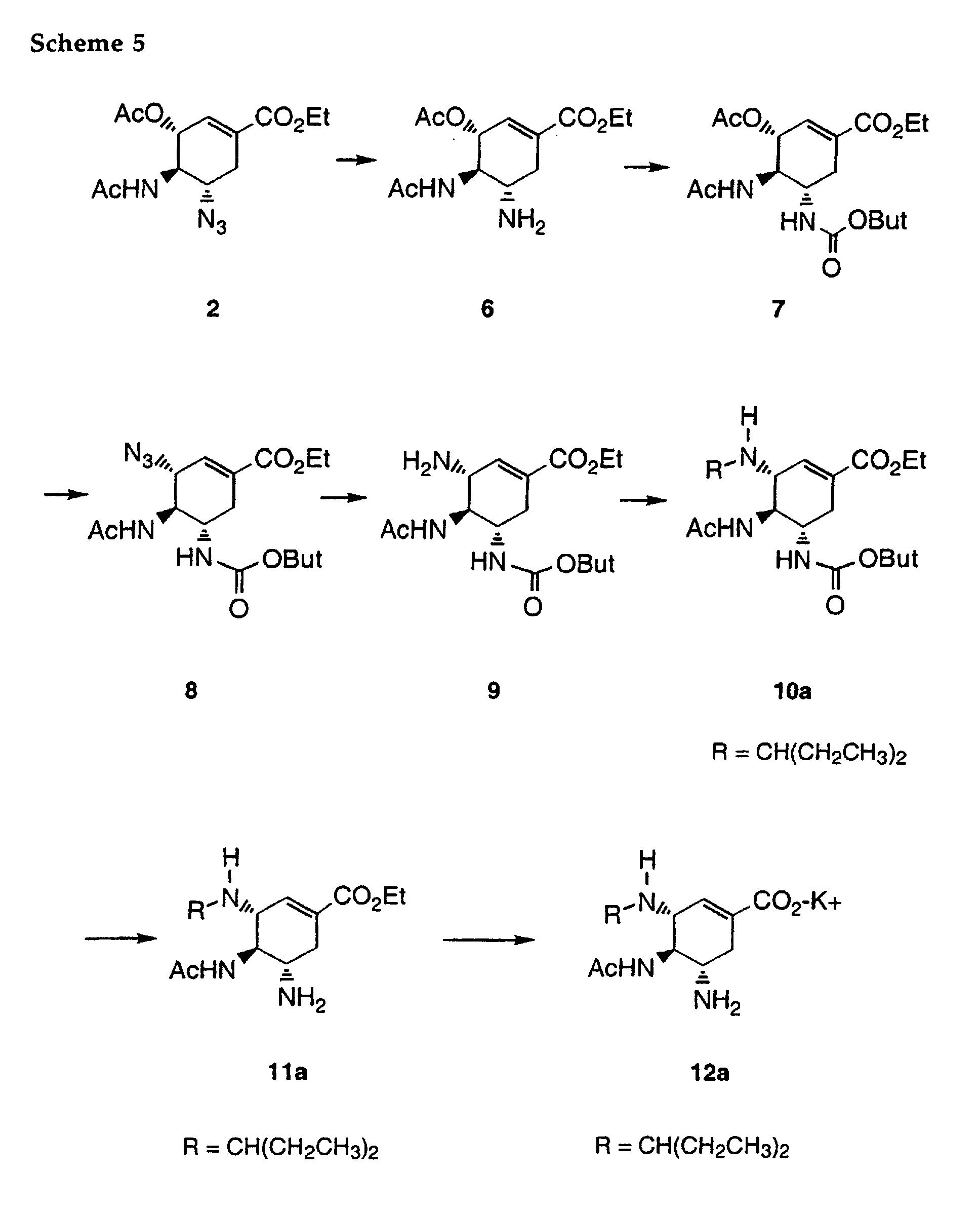 EP1040095B1 - Cyclohexene carboxylates as neuraminidase inhibitors