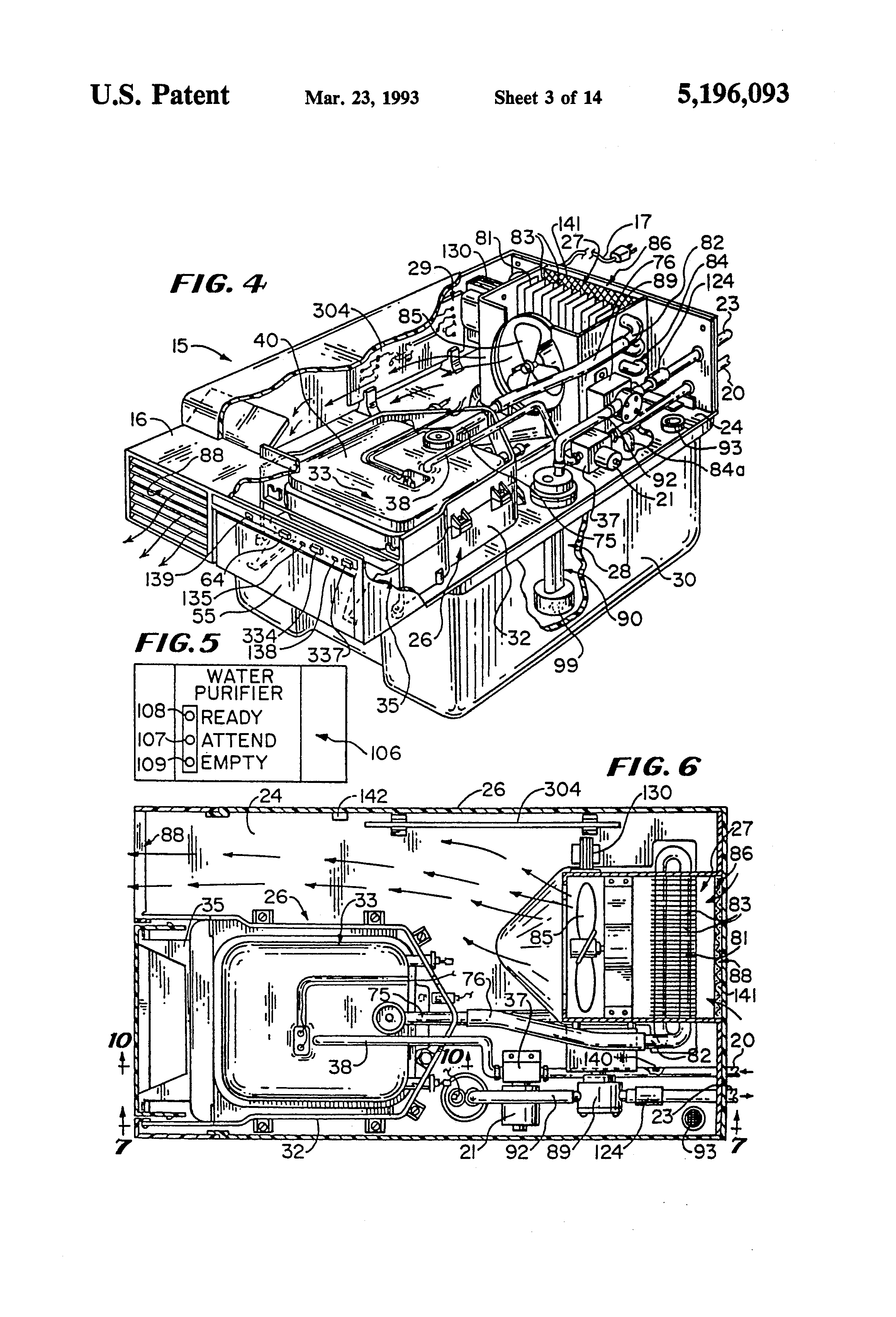 US5196093A - Water distiller having operating portions that ... on