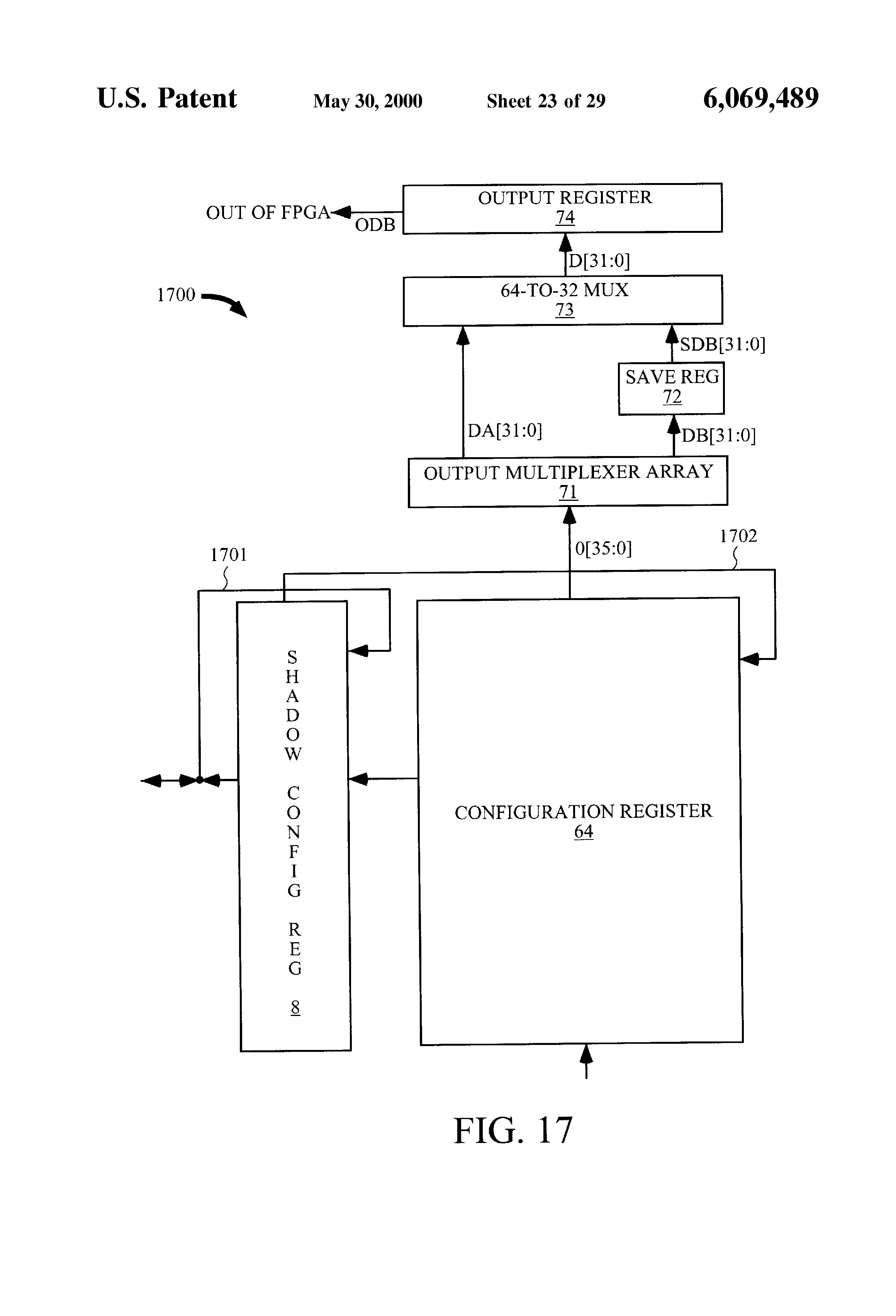 US6069489A - FPGA having fast configuration memory data
