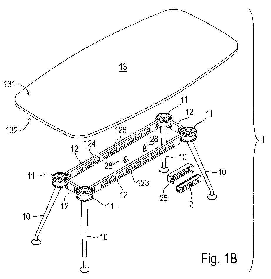 EP2154761A1 - Kabelführung an einem Tisch - Google Patents