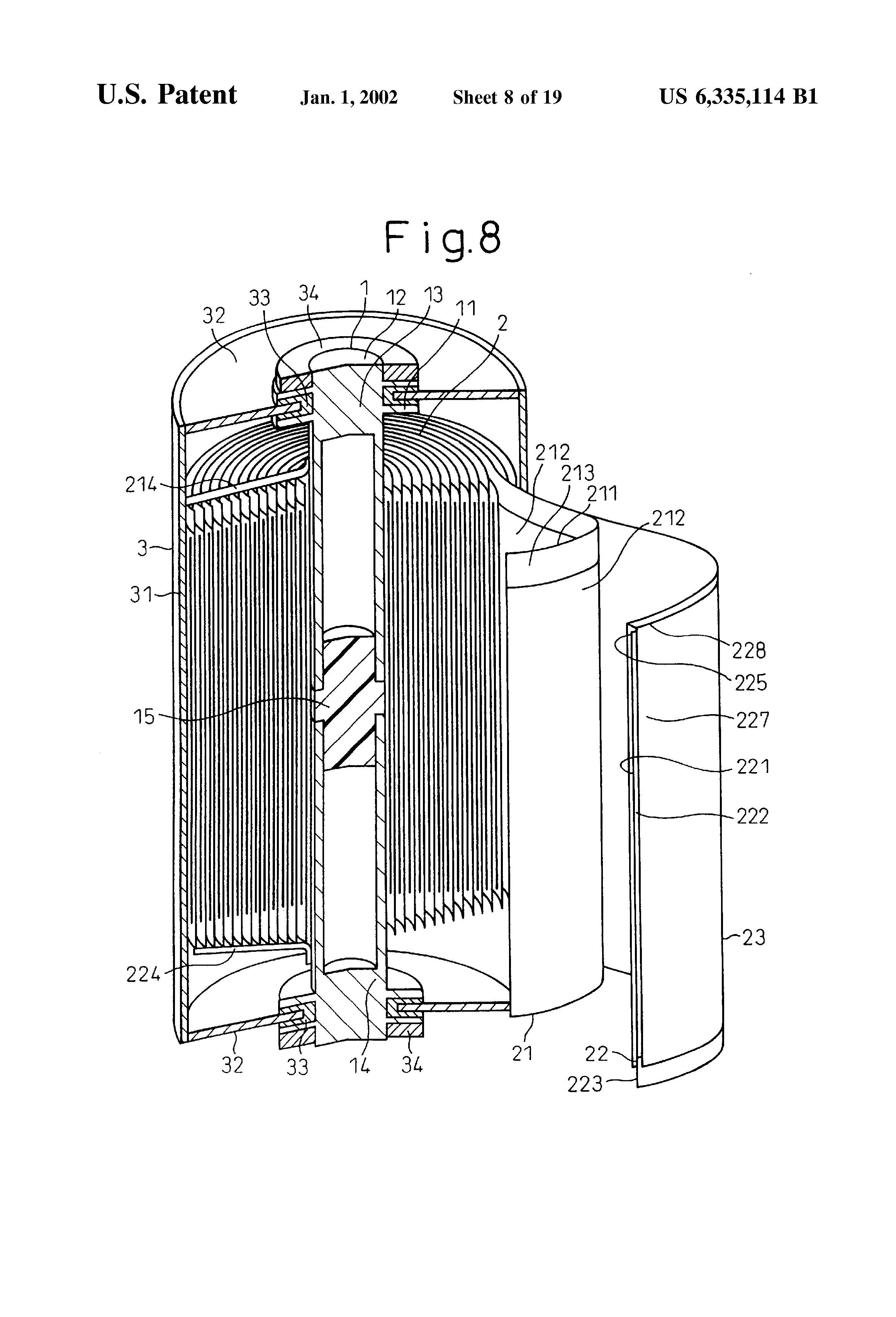 US6335114B1 - Laminate-type battery and process for its