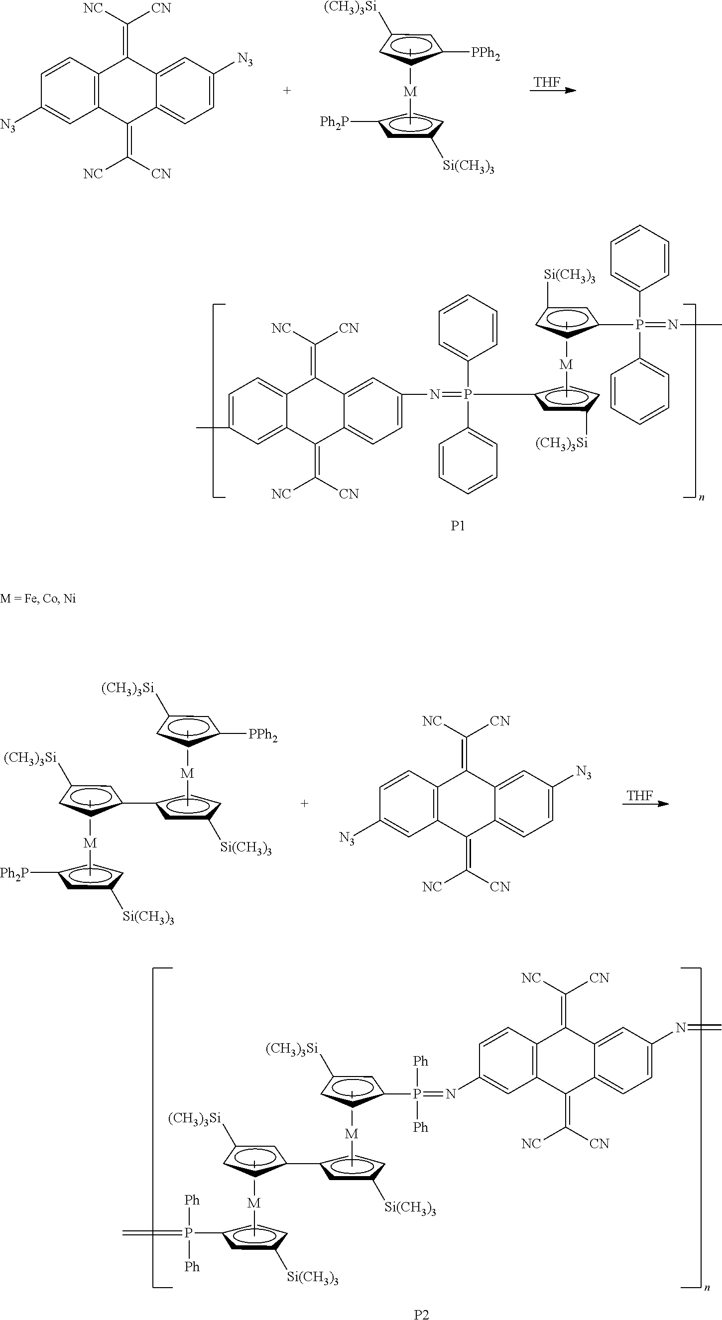 US8658751B2 - Molecule-based magnetic polymers and methods