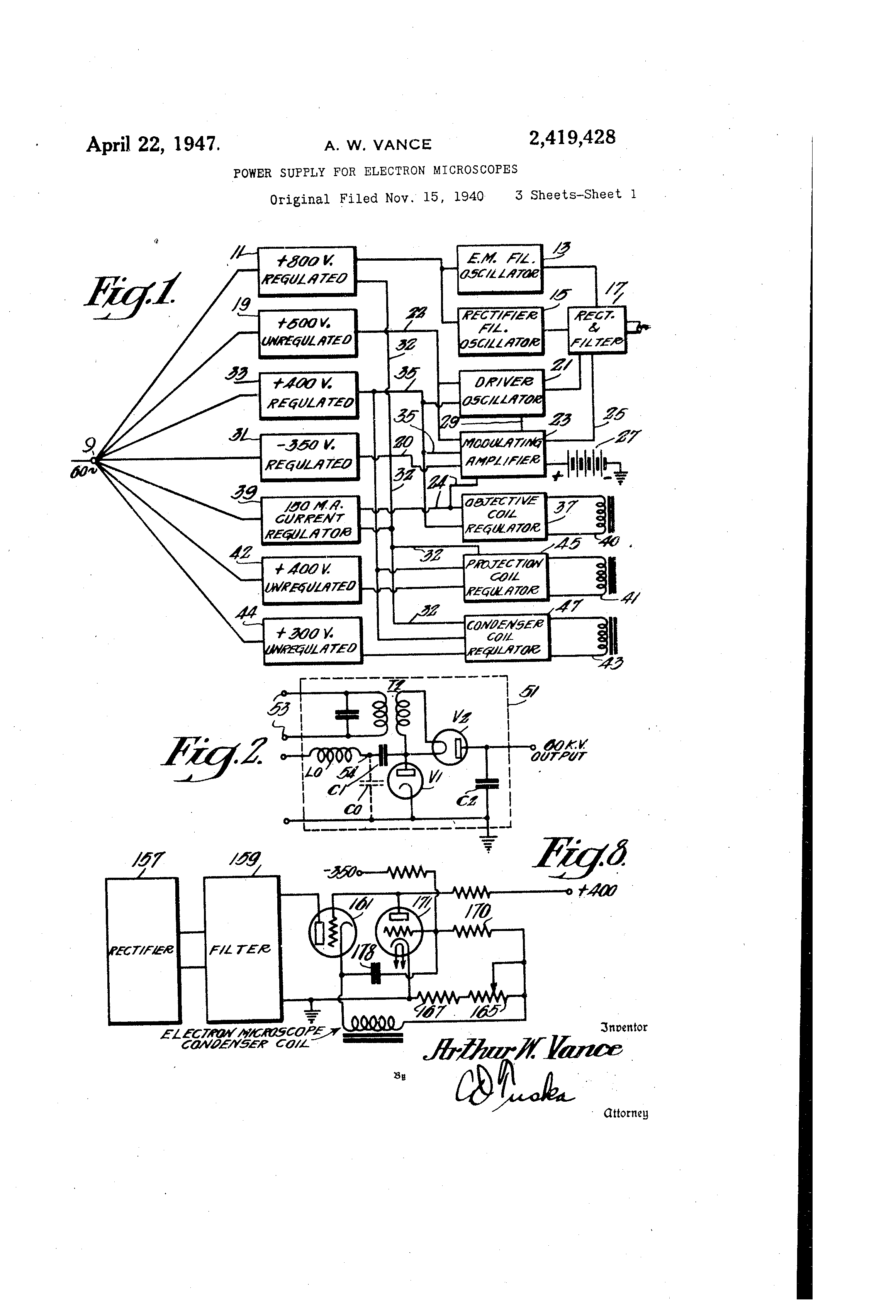 US2419428A - Power supply fob electron - Google Patents