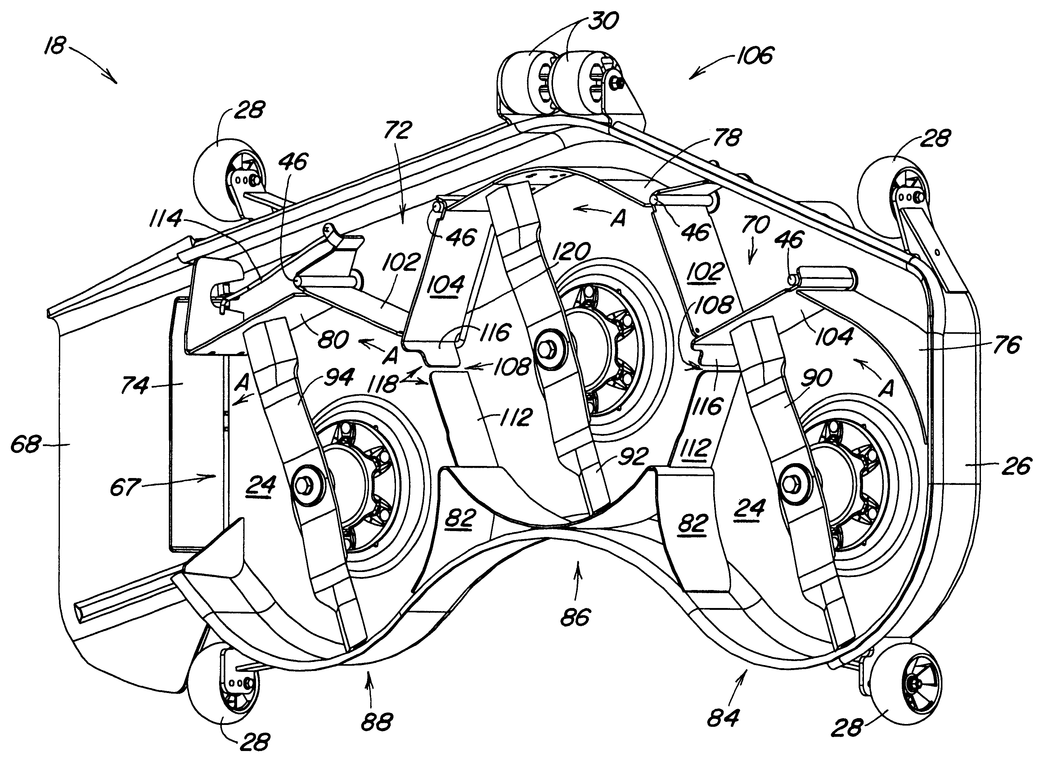 US6609358B1 - Mower having a mower deck adapted for selective