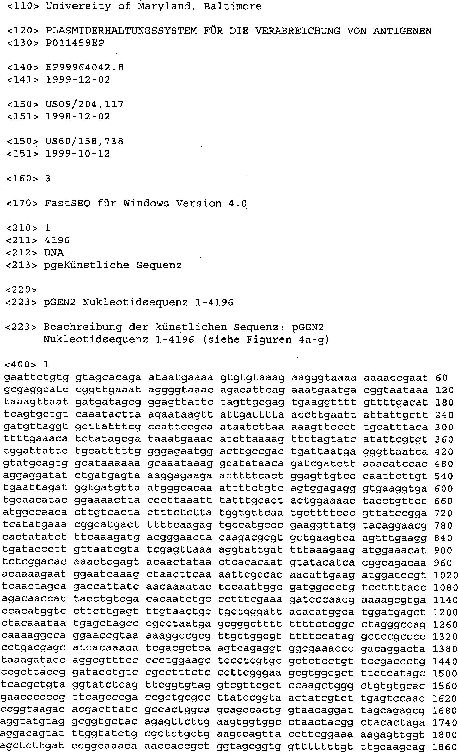 DE T2 Plasmidstabilisierungssystem für verabreichung