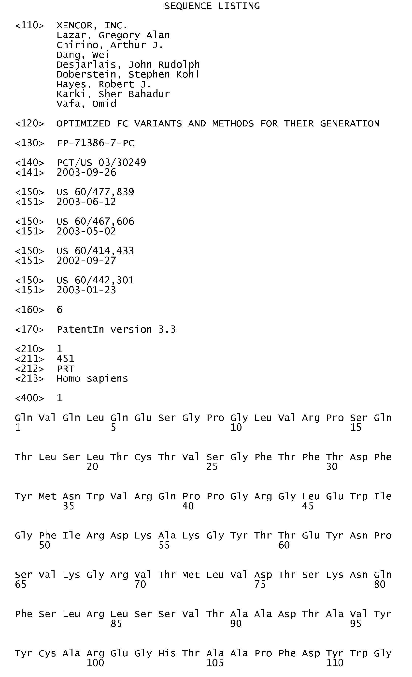 EP A1 Optimized fc variants and methods for their generation