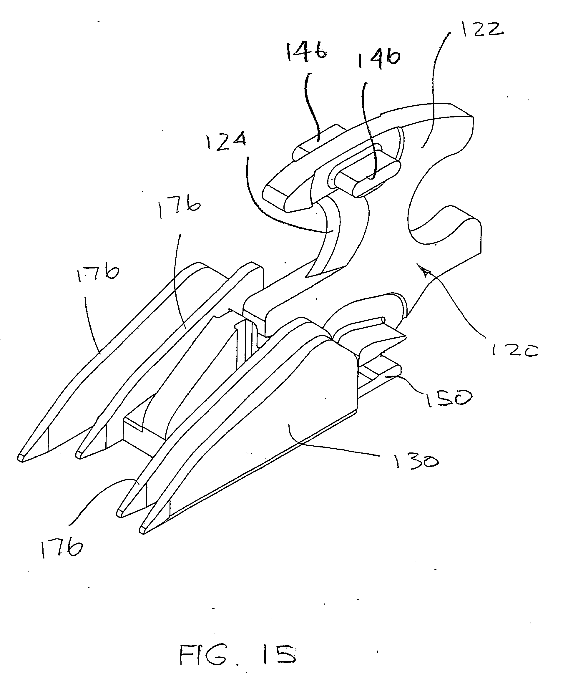 EP2974674A1 - Surgical stapling device with a curved end