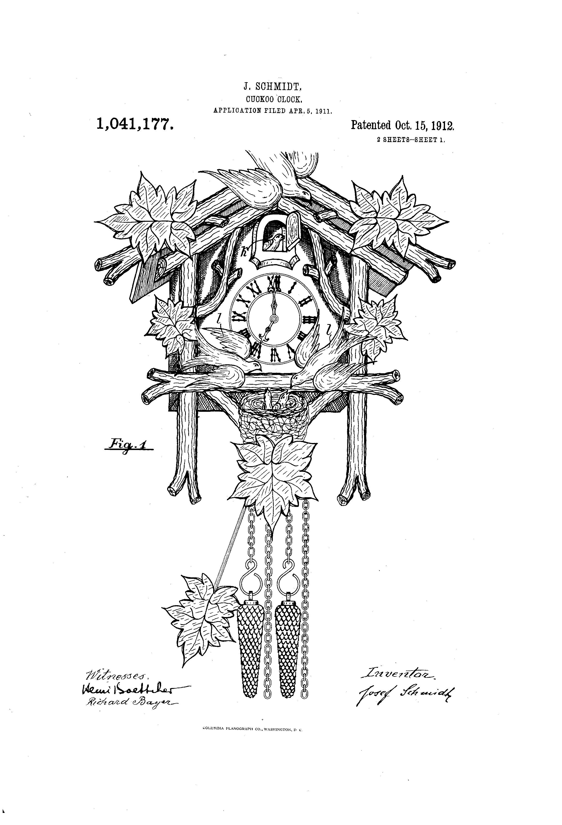 Patent US1041177 - Cuckoo-clock. - Google Patents