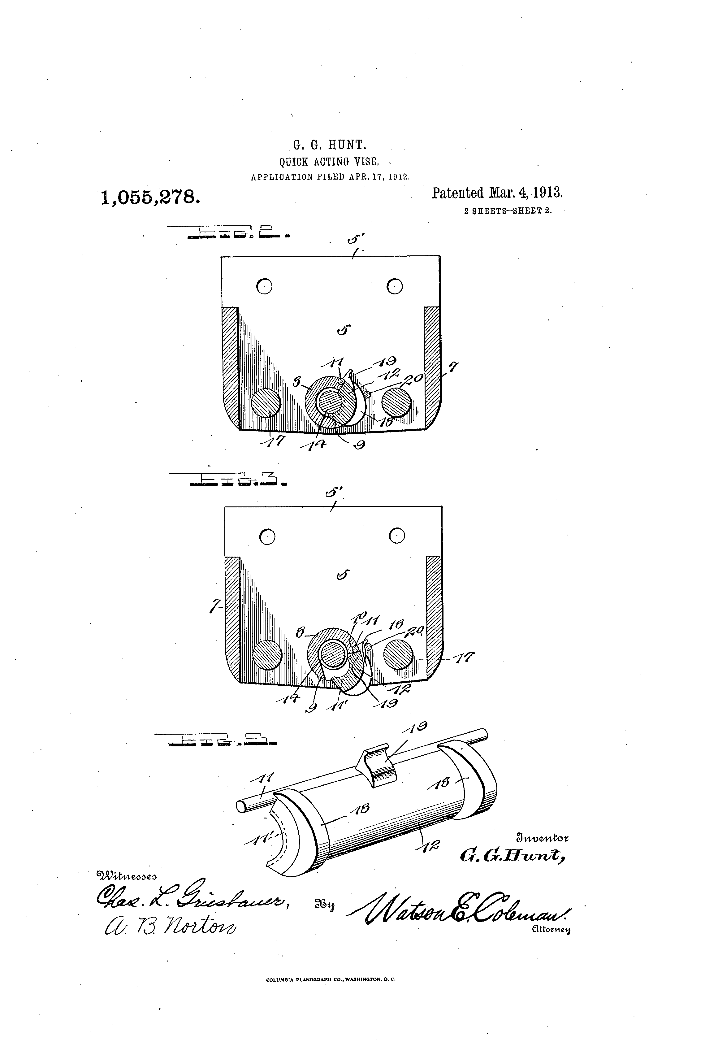 Patent Us1055278 Quick Acting Vise Google Patents Wilton Parts Diagram Drawing