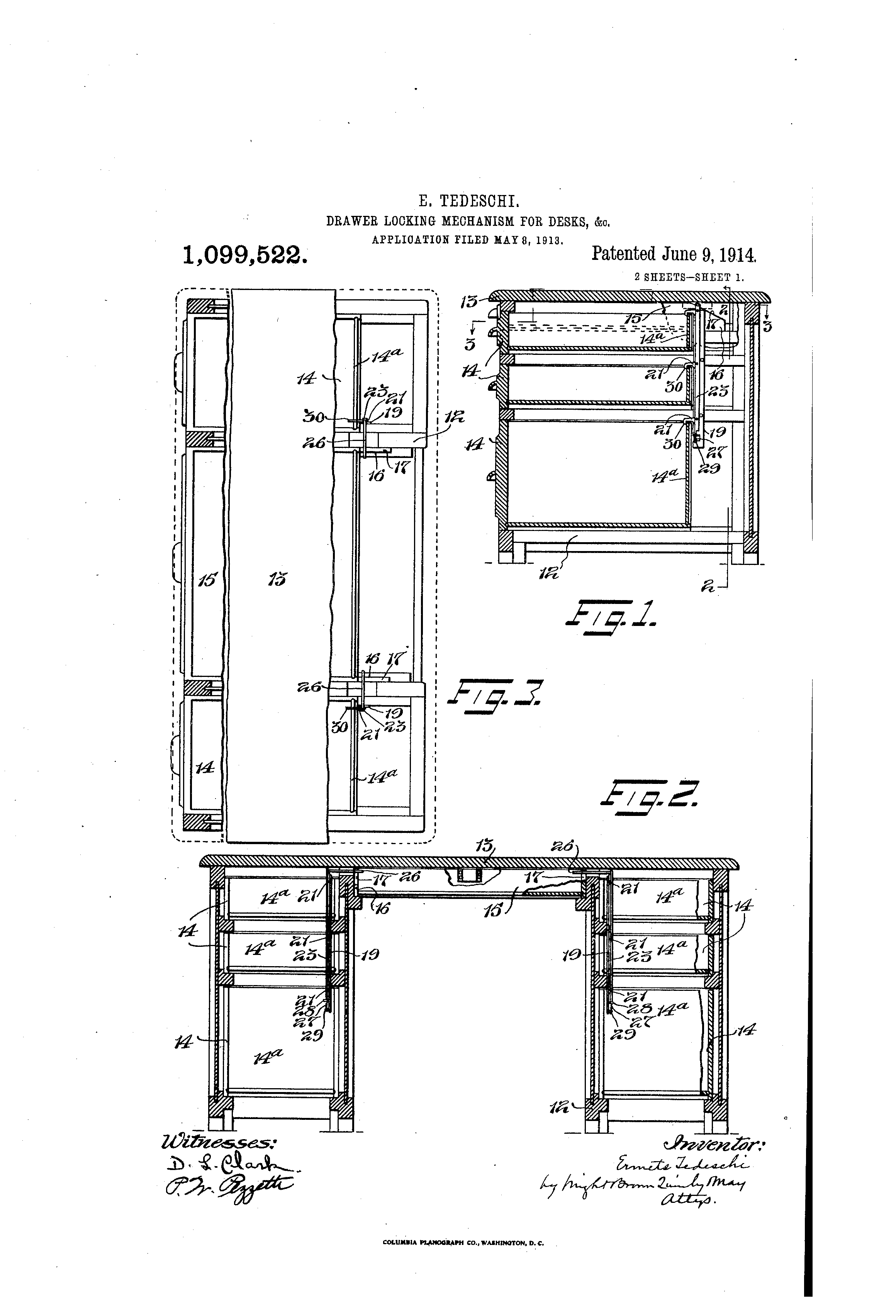 Patent Us1099522 Drawer Locking Mechanism For Desks Amp C