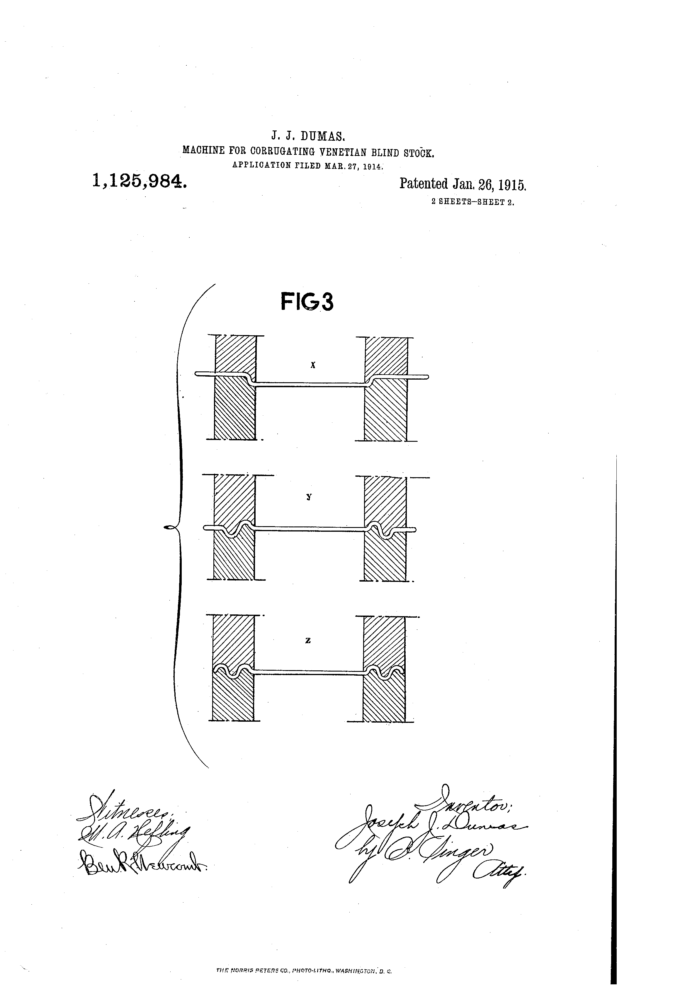Patent US1125984 - Machine for corrugating venetian-blind stock
