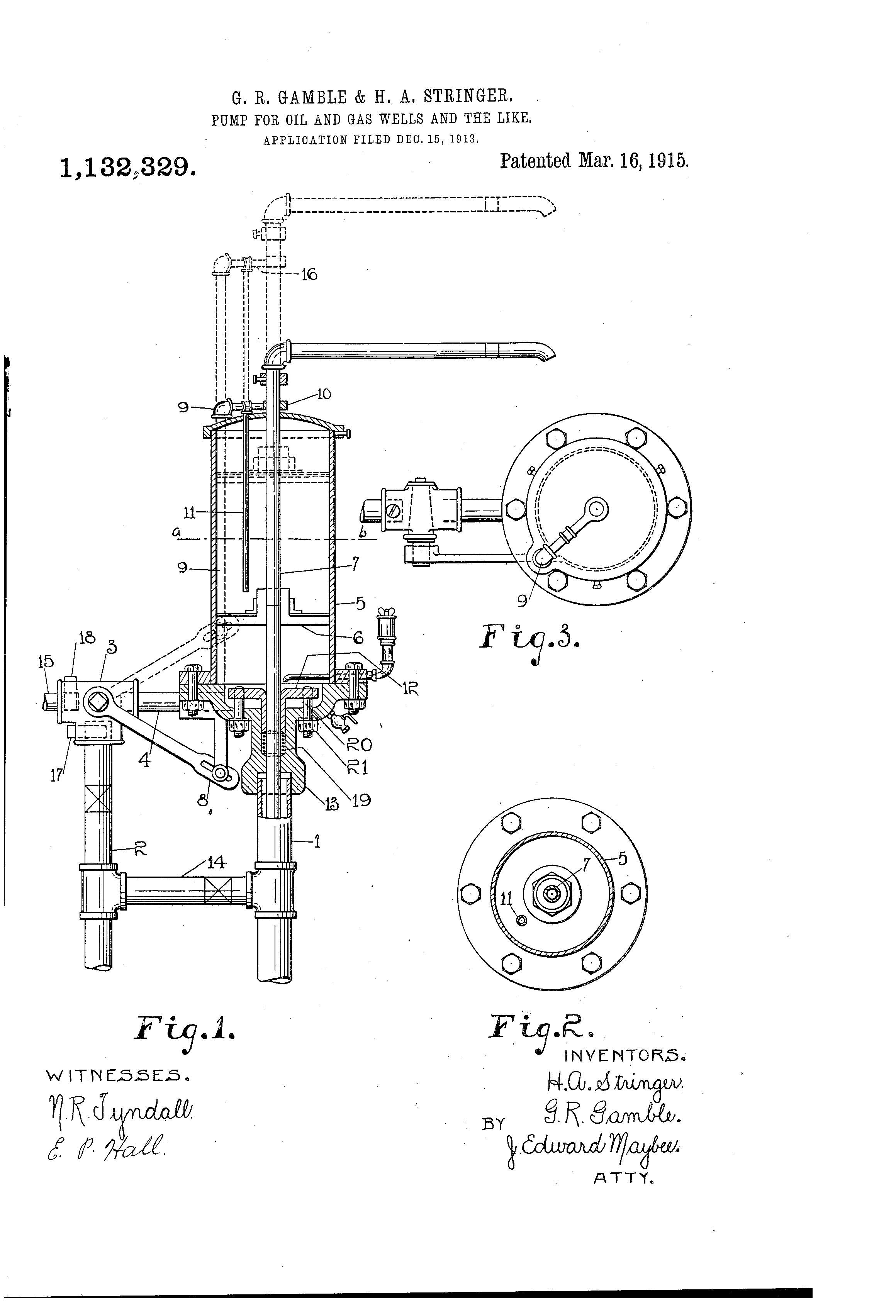 Patent Us1132329 Pump For Oil And Gas Wells The Like Google Well Schematic Drawing