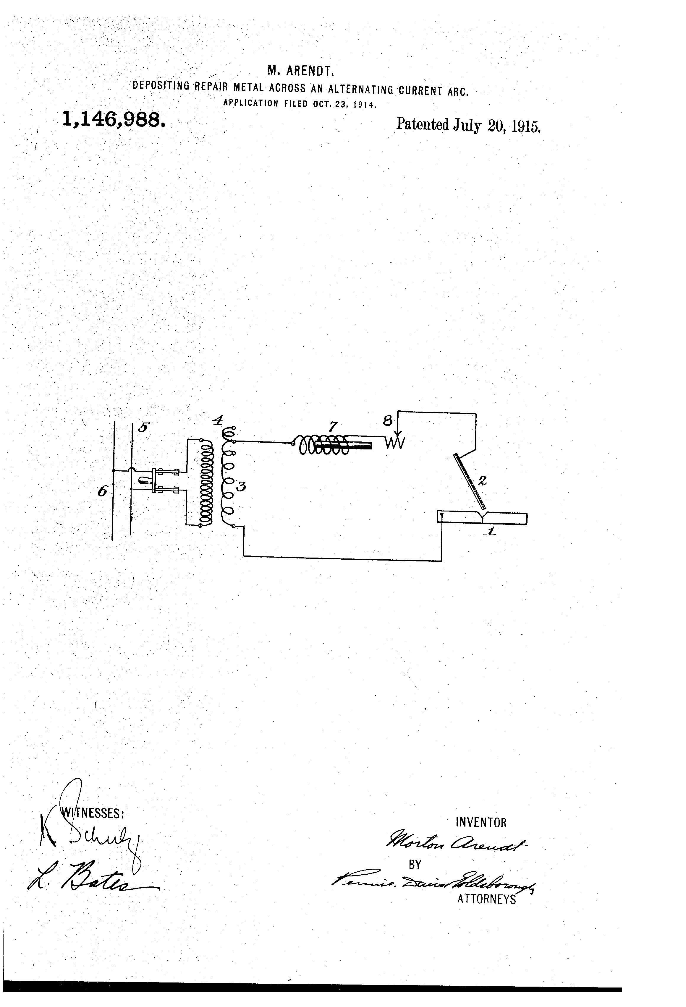 Patent US1146988 - Depositing repair metal across an alternating