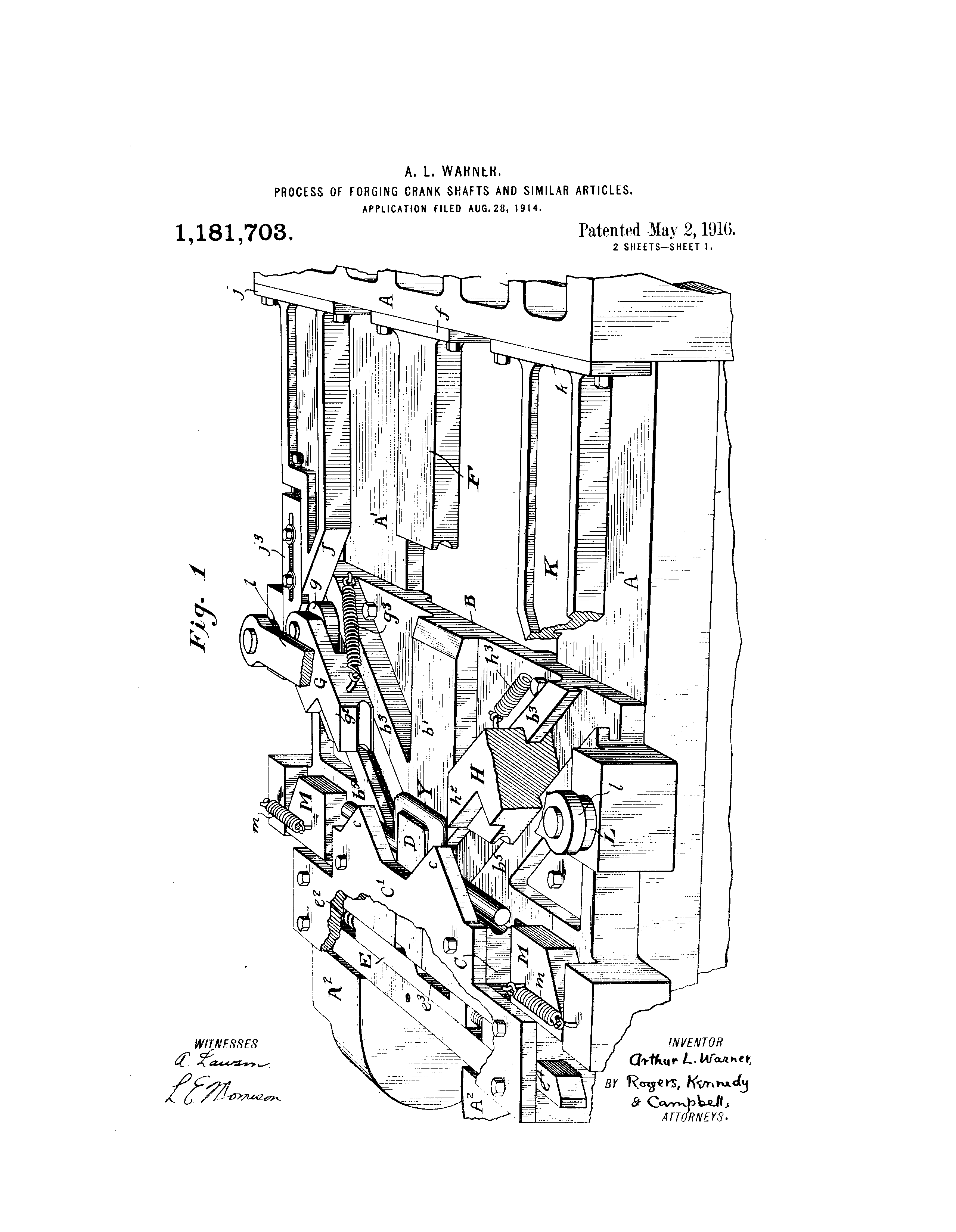 patent us1181703 process of f ing crank shafts and similar  patent drawing