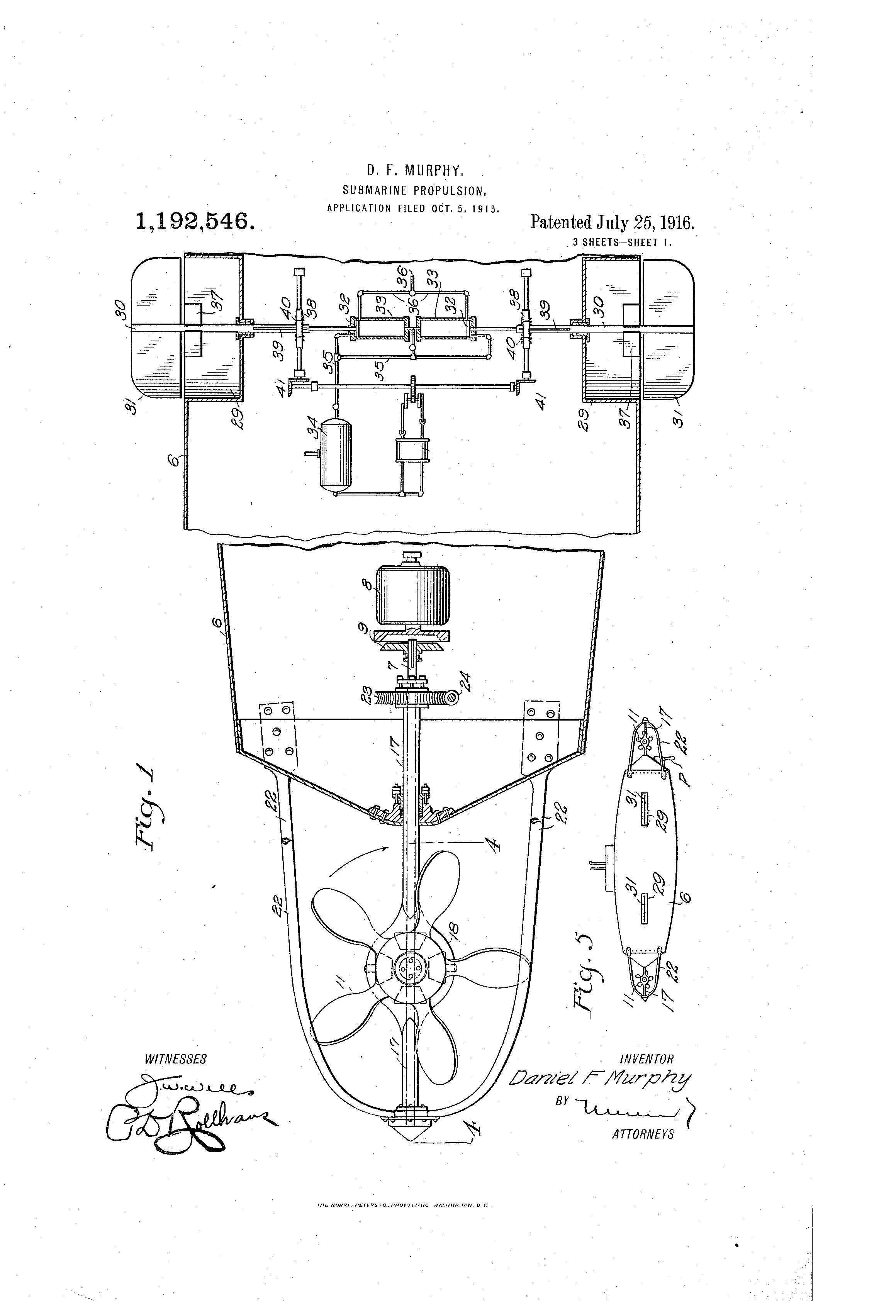 Patent US1192546 - Submarine propulsion  - Google Patents