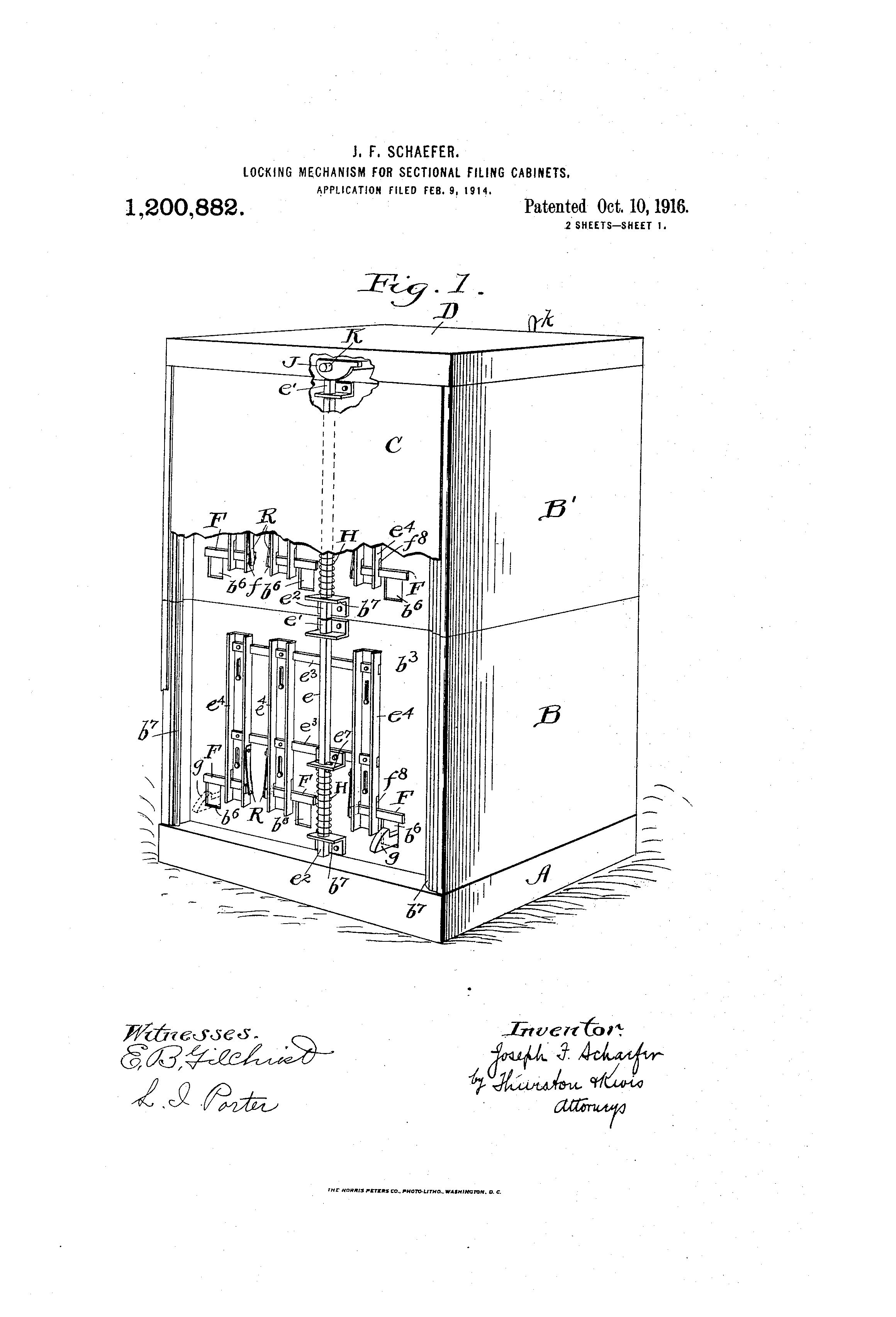 Patent US1200882 - Locking mechanism for sectional filing-cabinets ...