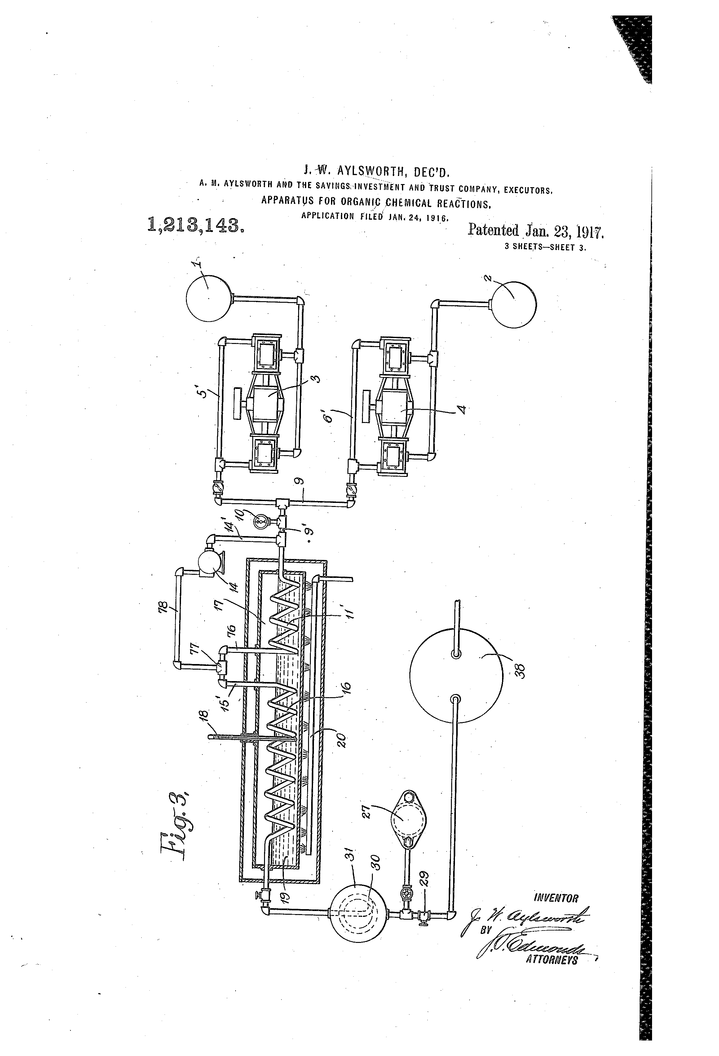 Patent US1213143 - Apparatus for organic chemicl reactions  - Google