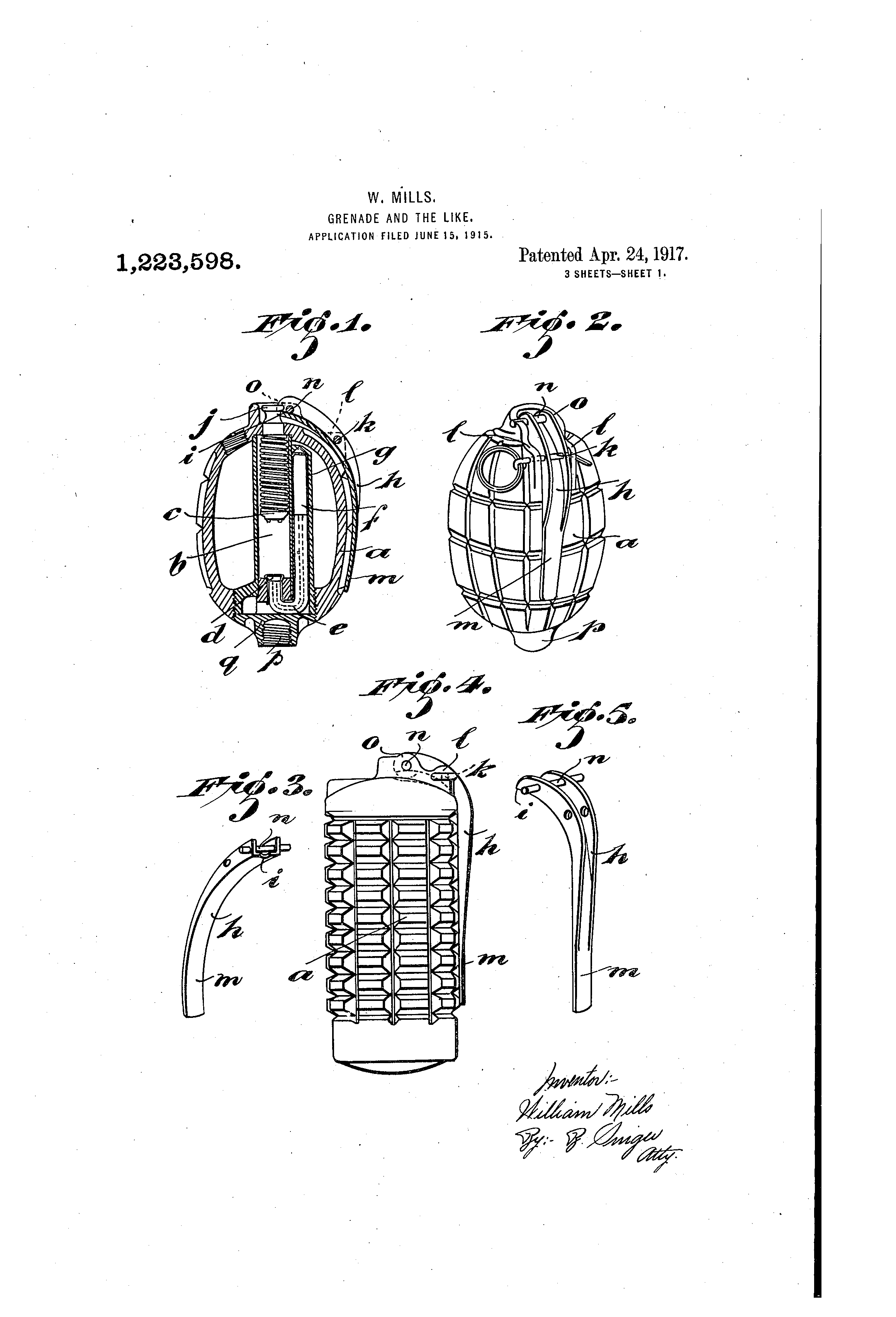 patent us1223598 - grenade and the like
