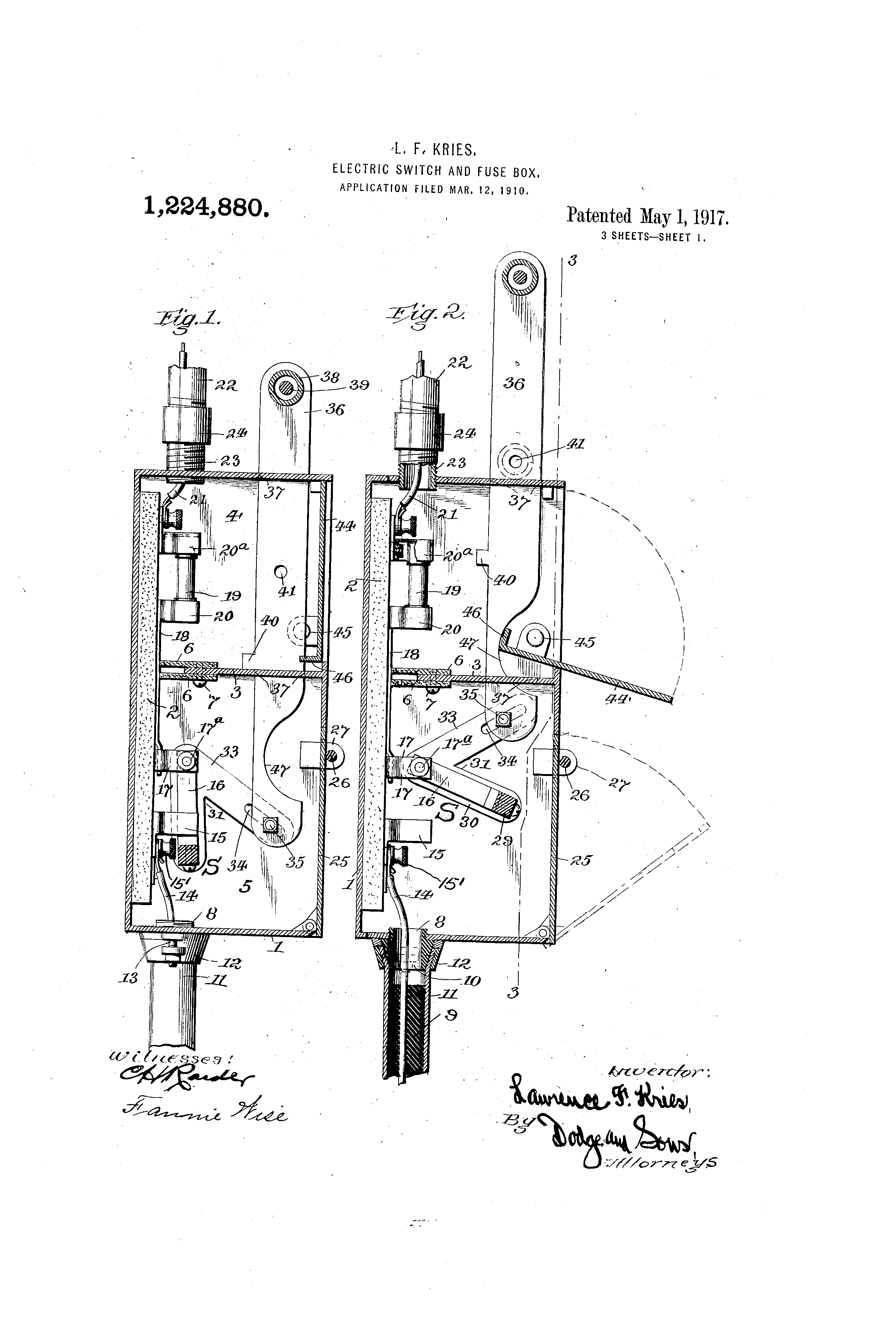 Patent Us1224880 Electric Switch And Fuse Box Google Patents Electrical Switches Boxes Drawing