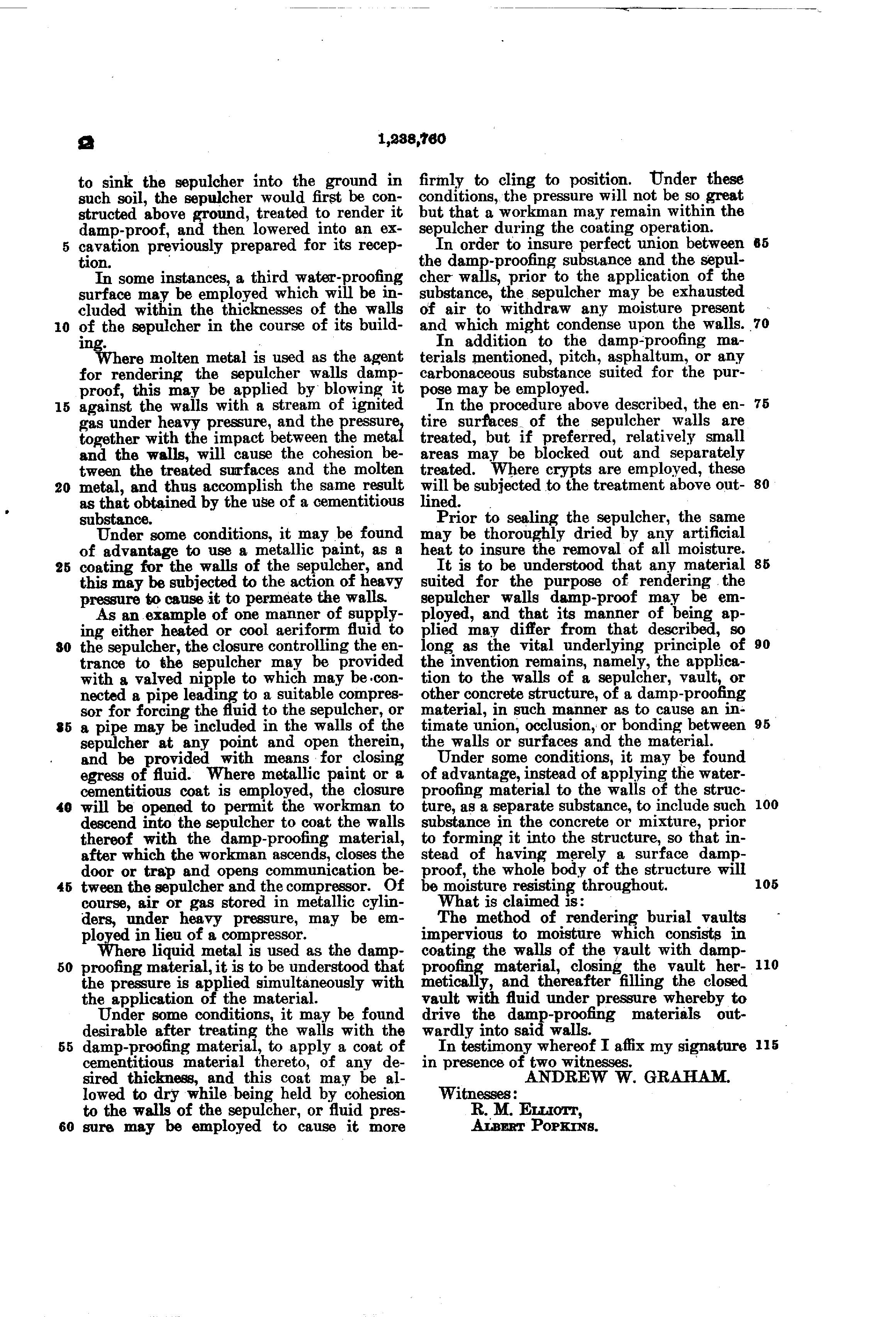 Patent US1238760 - Method of damp-proofing burial-vaults  - Google