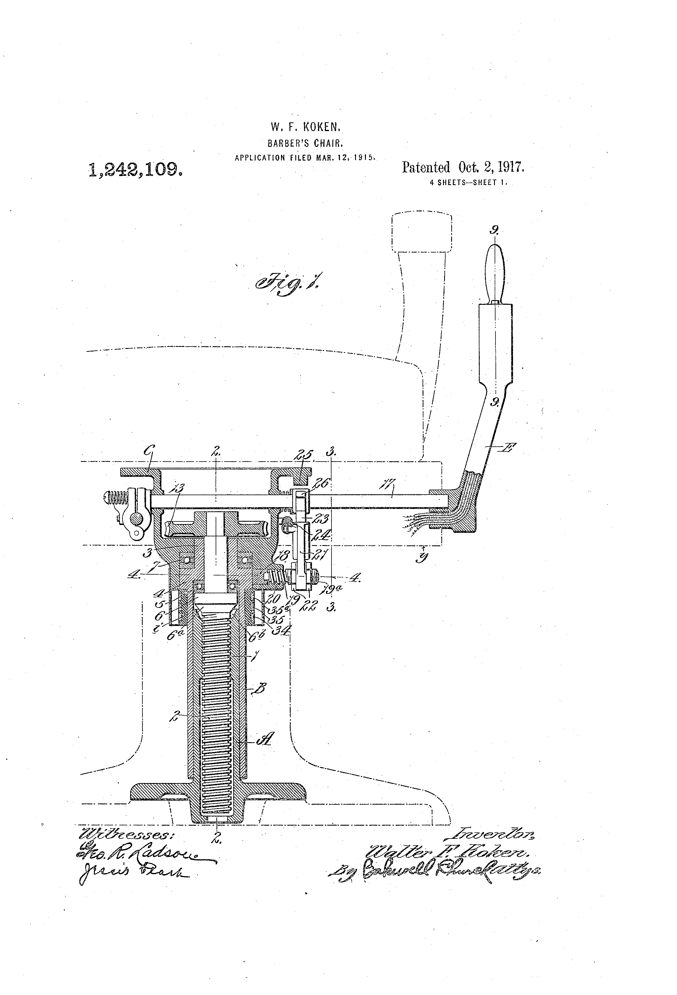 Barber chairs drawing - Patent Drawing