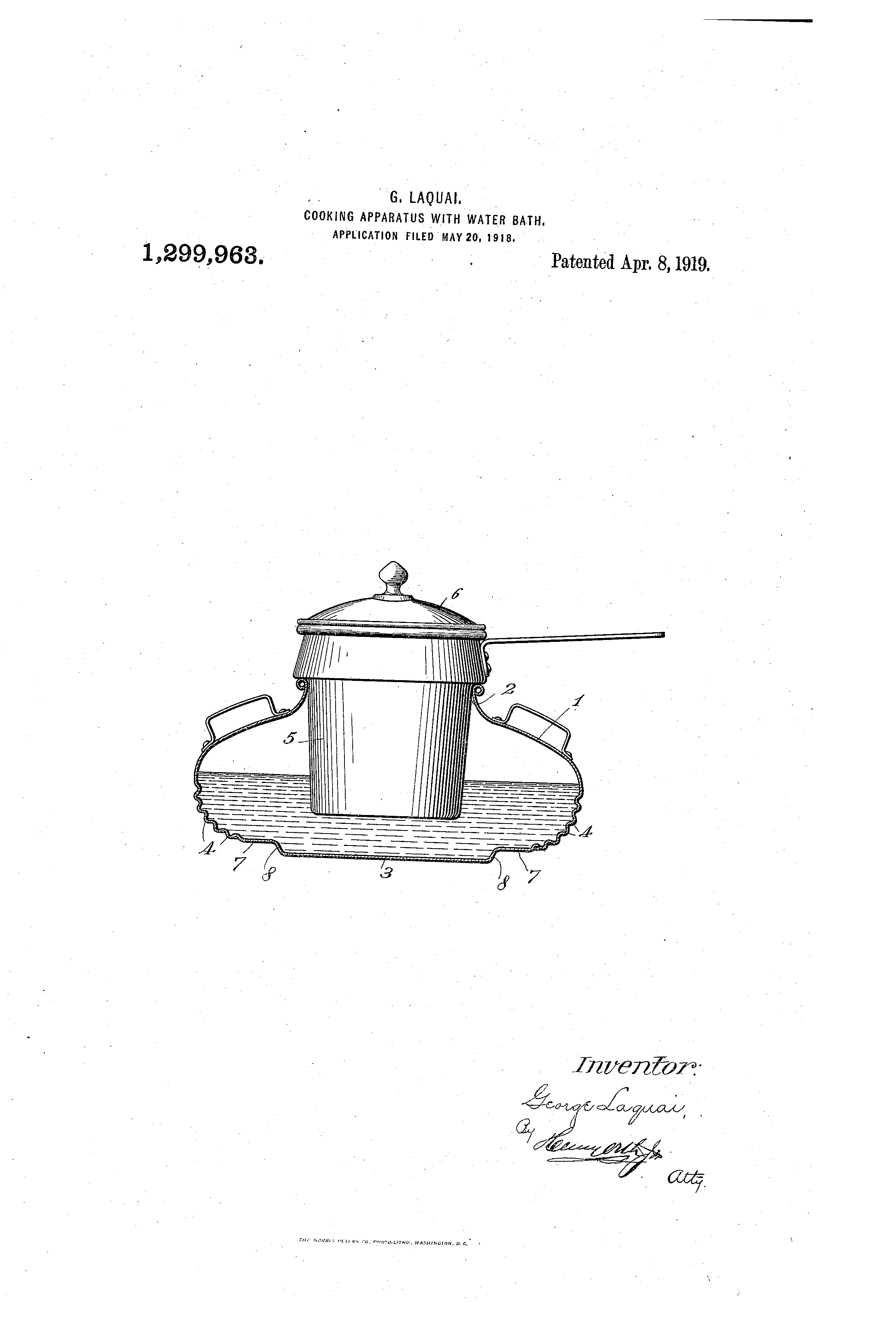 Patent US1299963 - Cooking apparatus with water-bath ...