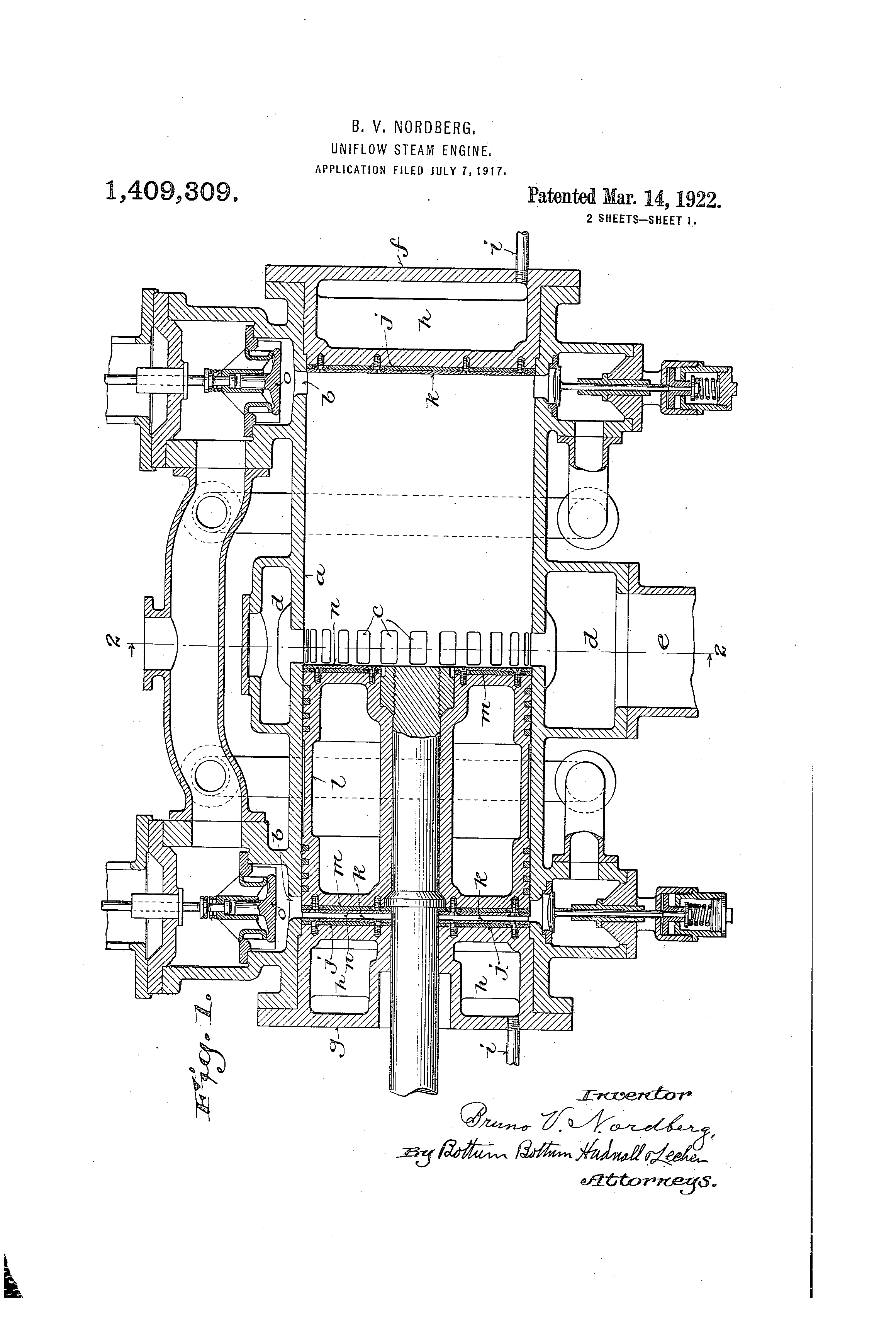 Patent Us1409309 Uniflow Steam Engine Google Patents Piston Diagram Drawing