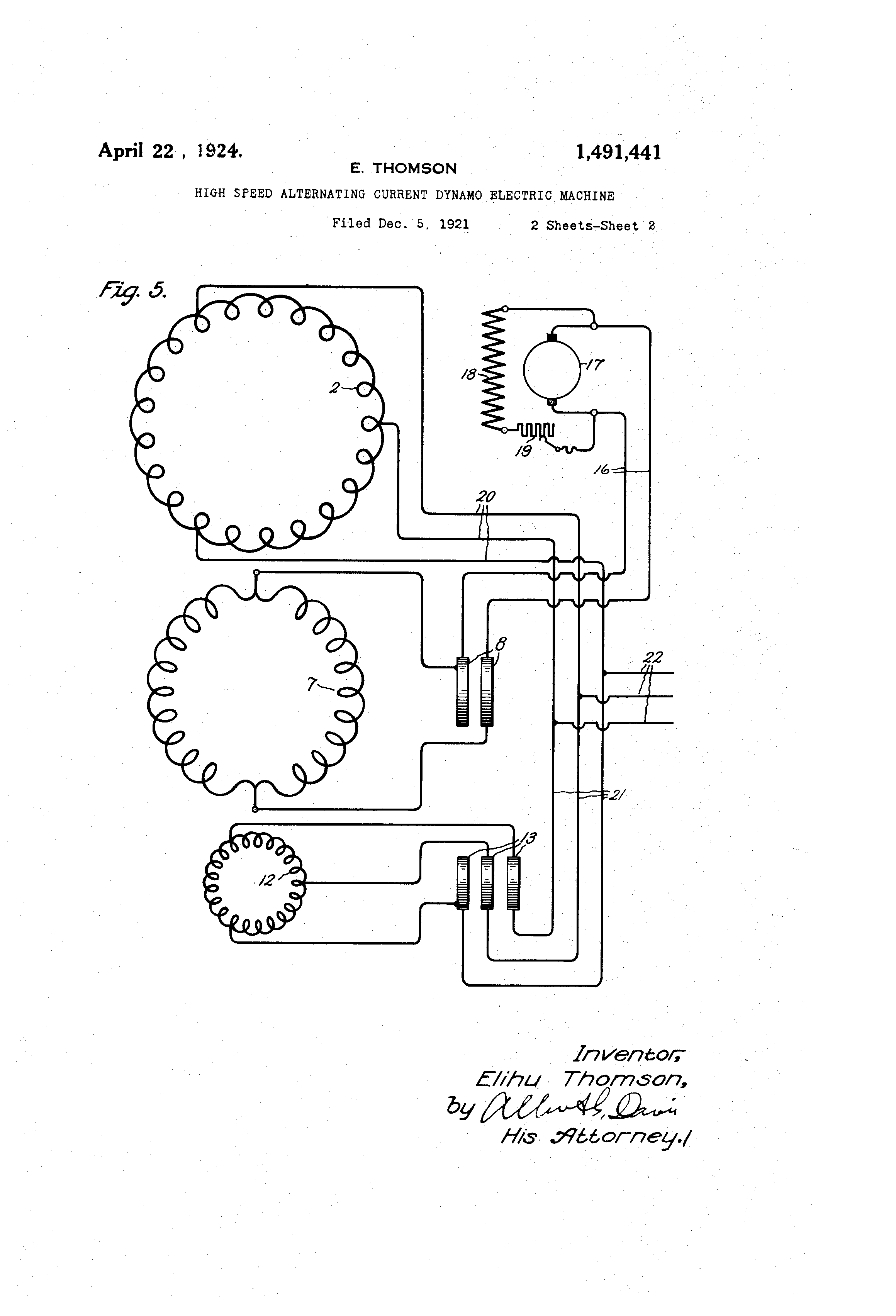 Patent Us1491441 High Speed Alternating Current Dynamo Electric Diagram And Direct Drawing