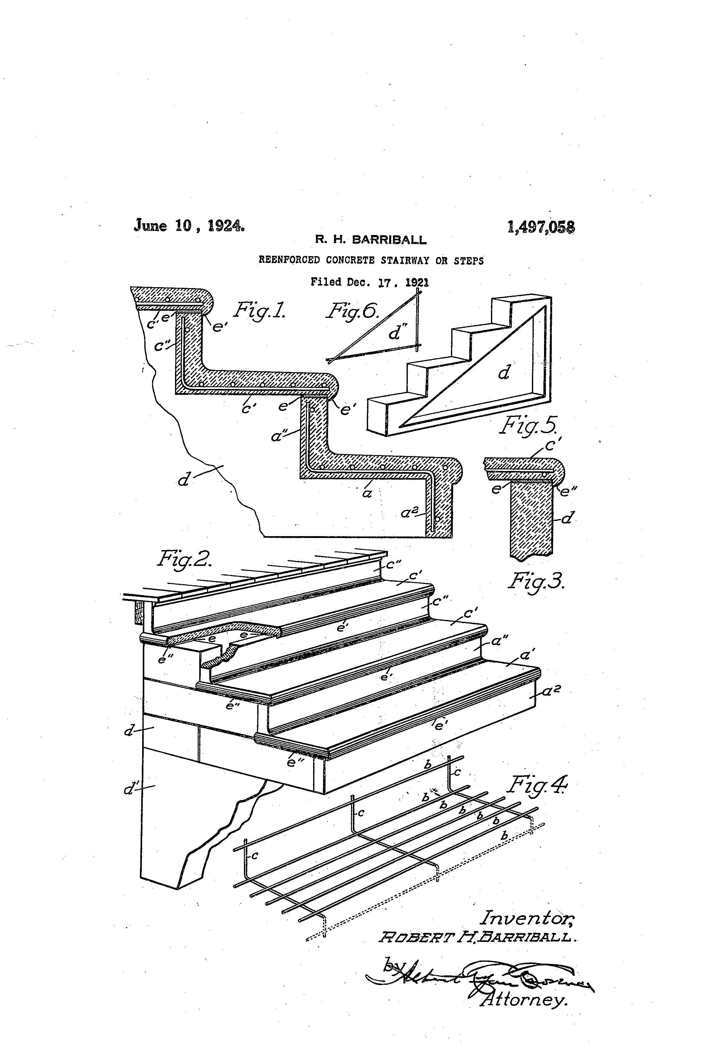 Patent Us1497058 Reenforced Concrete Stairway Or Steps