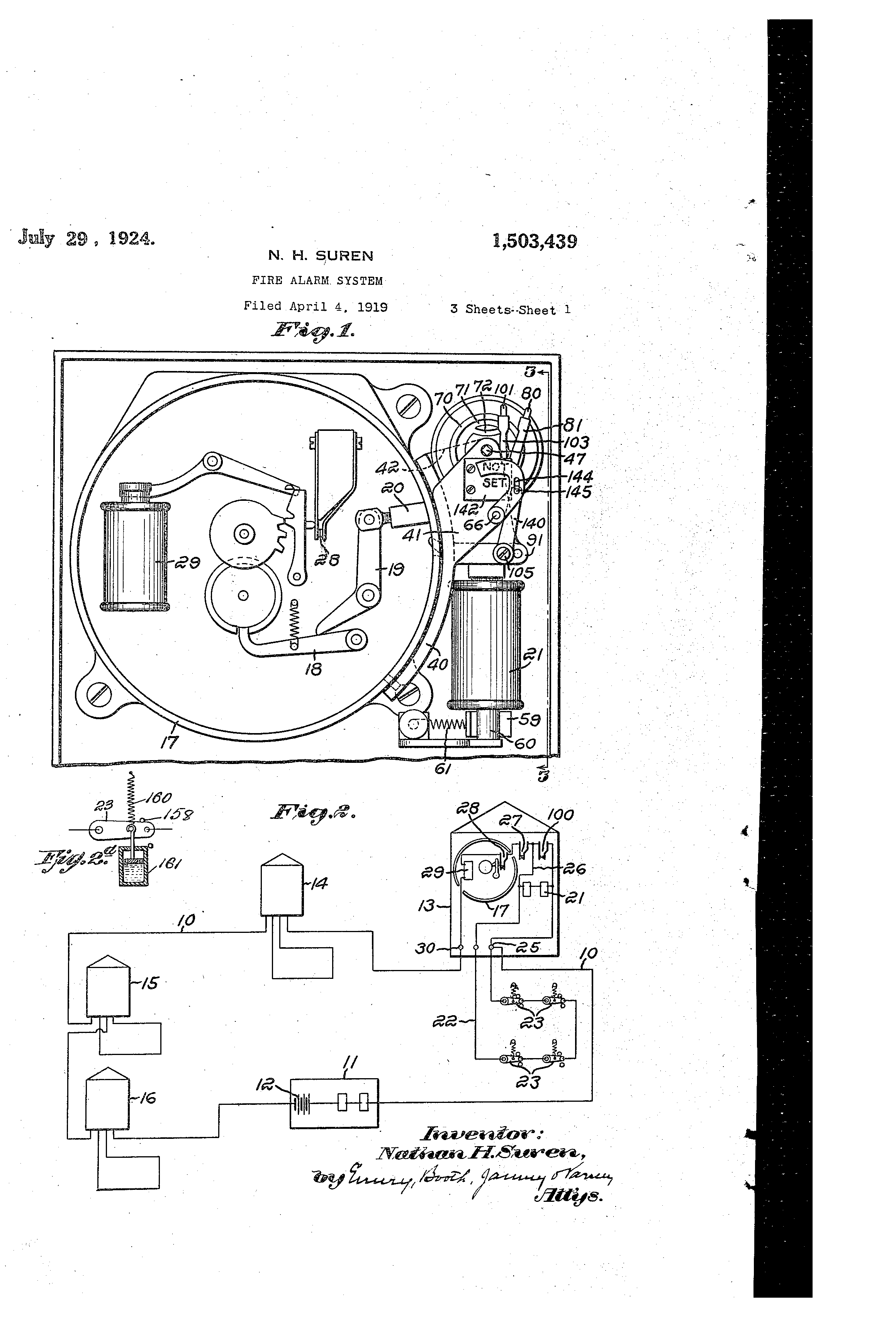 US1503439 0 patent us1503439 fire alarm system google patents gamewell master box wire diagram at alyssarenee.co