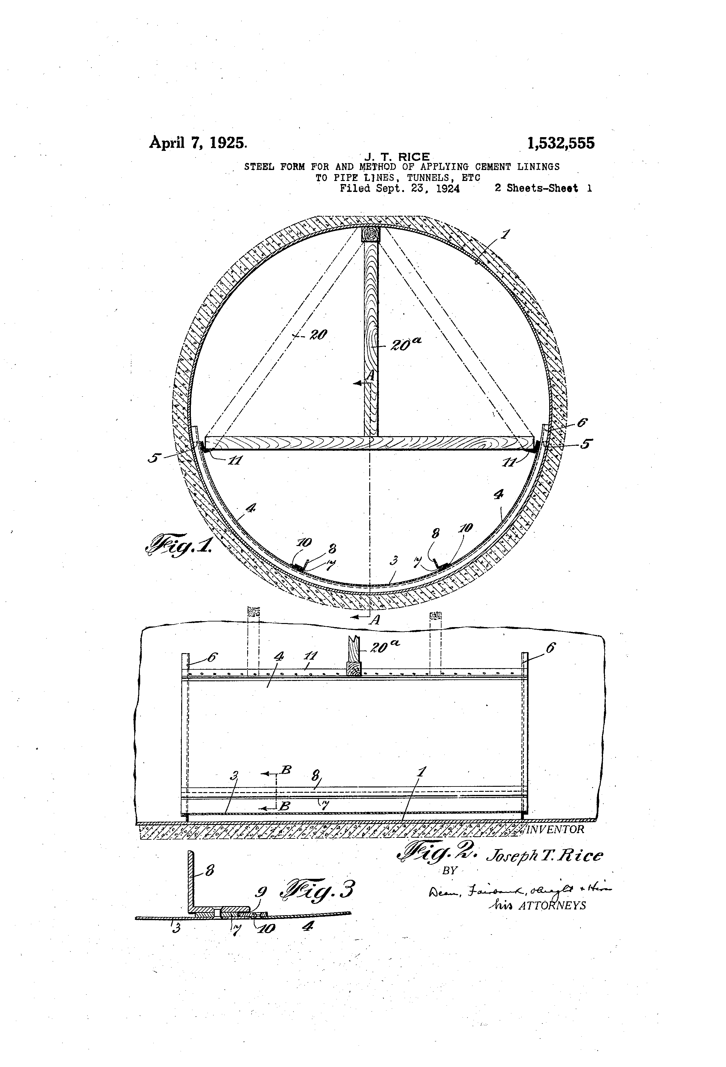 Patent US1532555 - Steel form for and method of applying cement