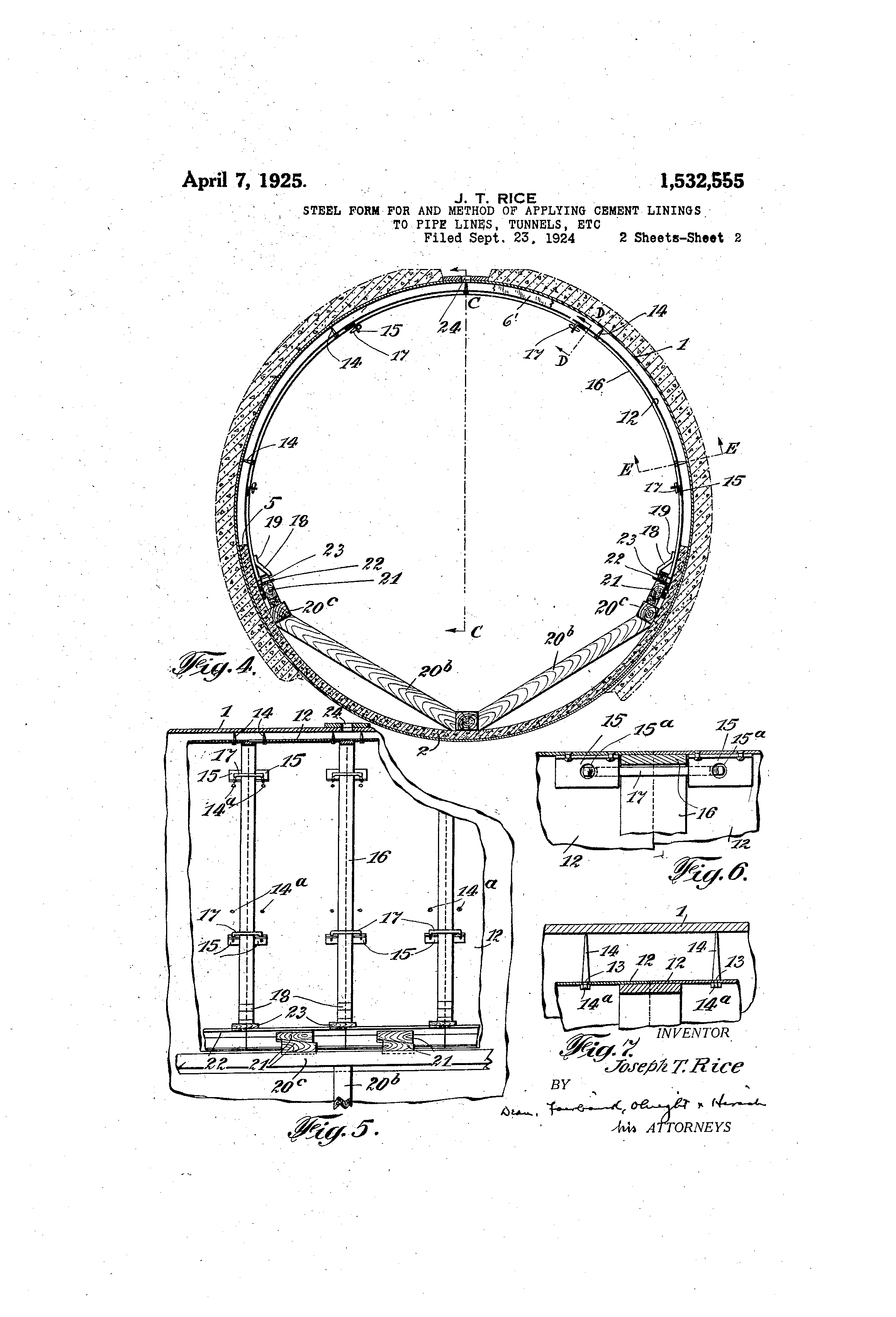 Patent US1532555 - Steel form for and method of applying