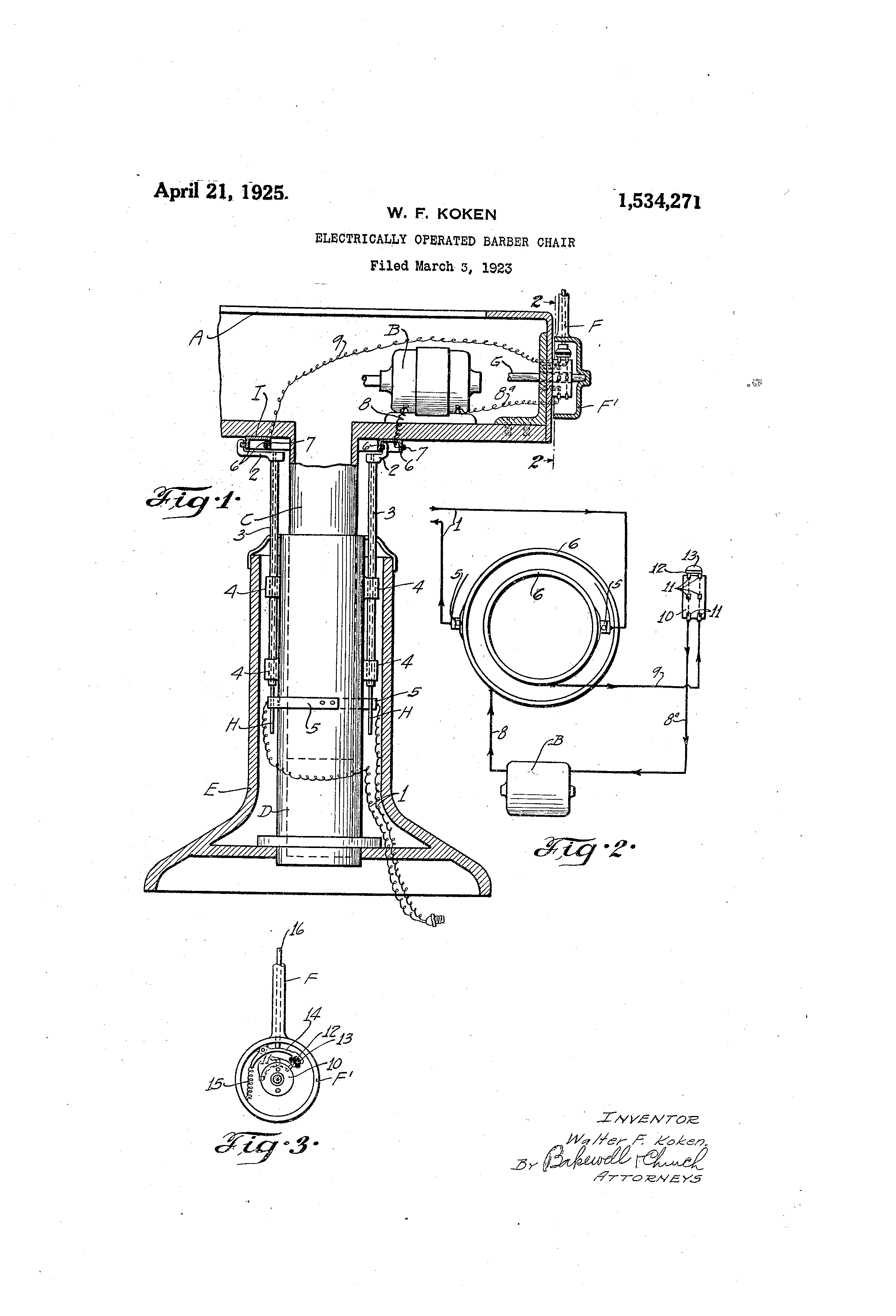 Koken barber chair serial number - Patent Drawing