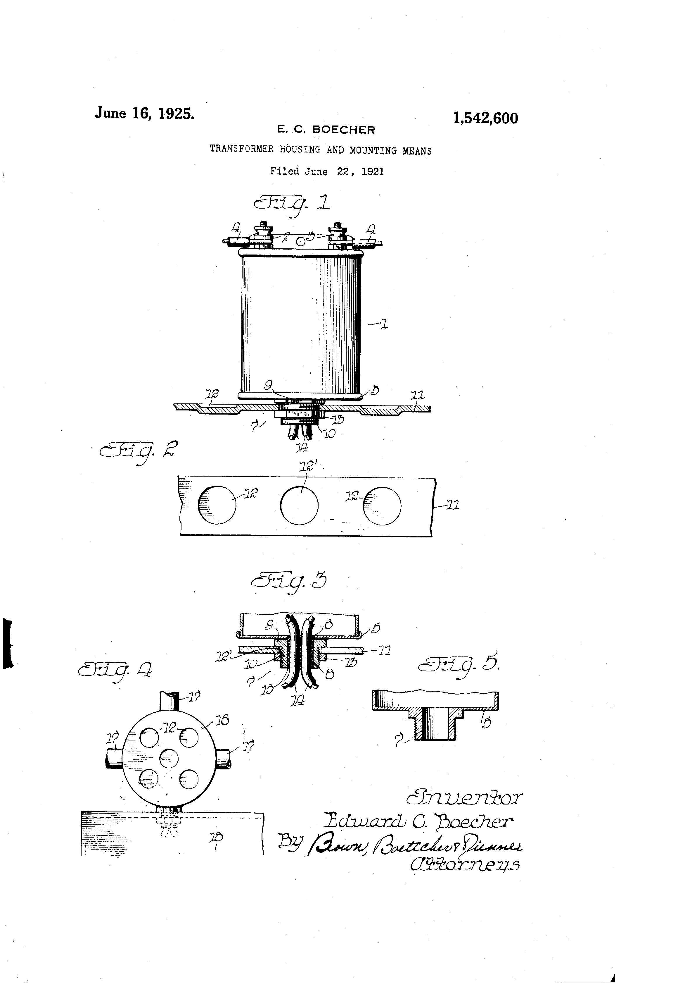 Patent Us1542600 Transformer Housing And Mounting Means Google Edwards Transformers Wiring Diagram Drawing