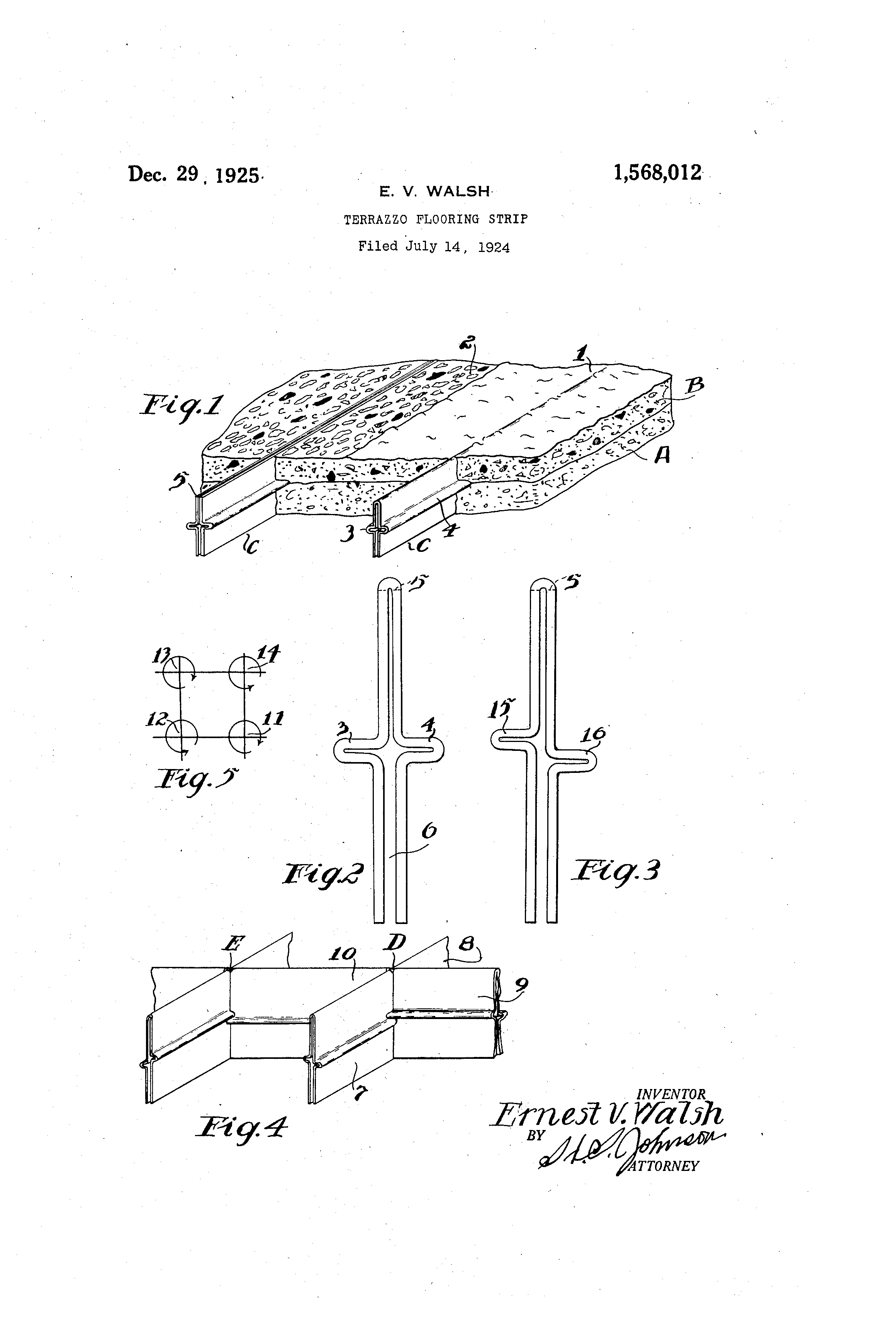 Patent Us1568012 Terrazzo Flooring Strip Google Patents
